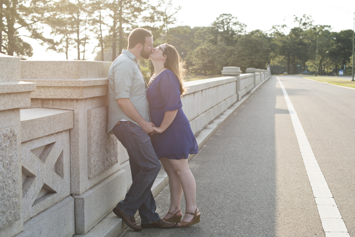 Sunset engagement pictures at Lions Bridge Park in Newport News, Virginia
