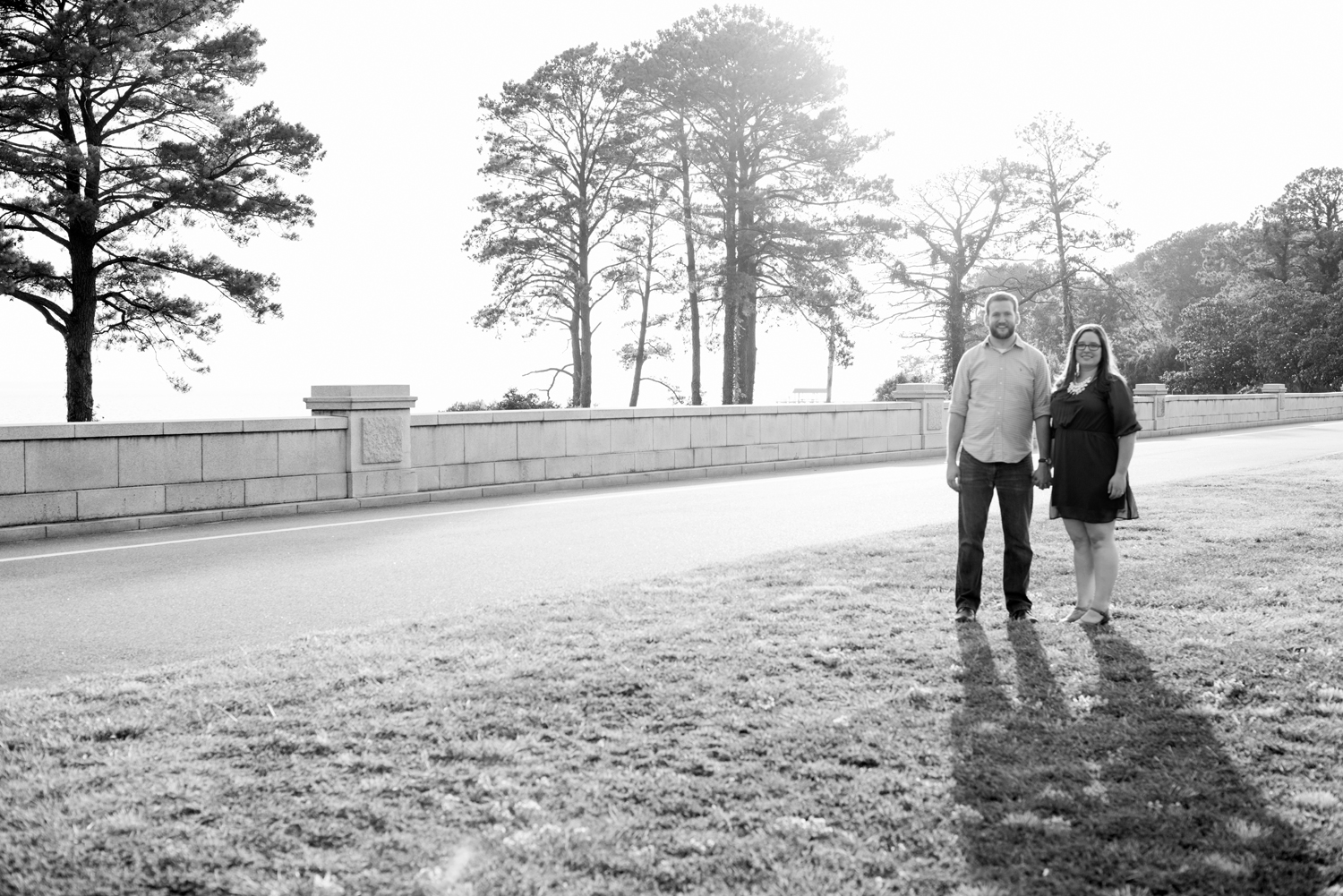 Sunset engagement pictures at Lions Bridge Park in Newport News, Virginia (black and white)
