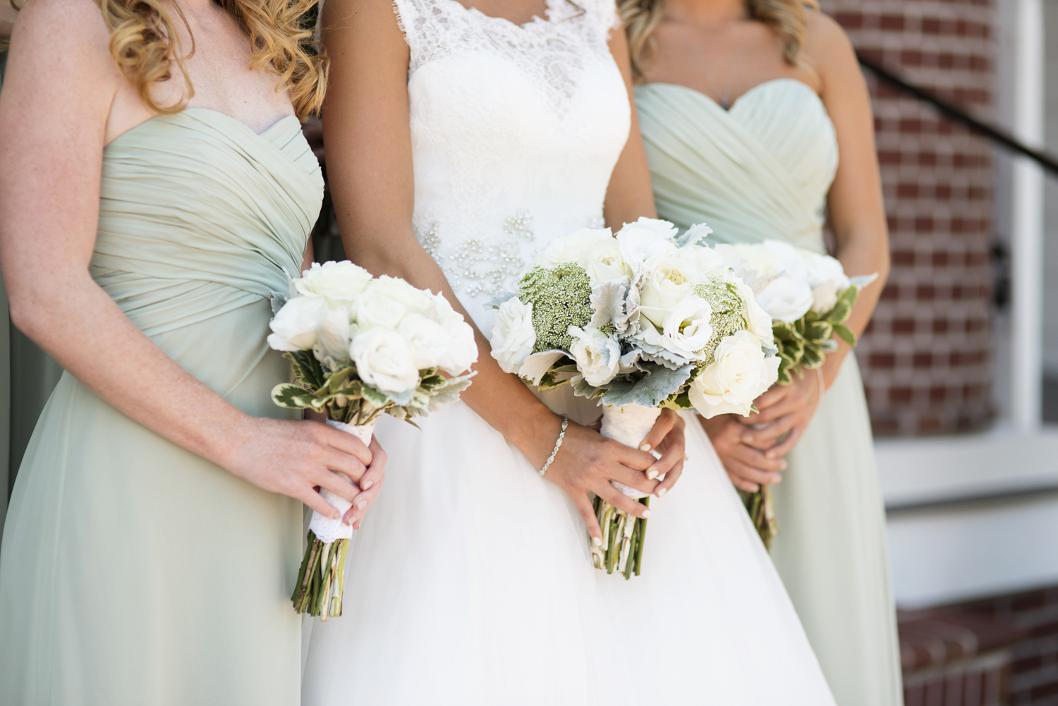 Bridal and bridesmaid's mint green and ivory white bouquets | Portsmouth Woman's Club in Virginia
