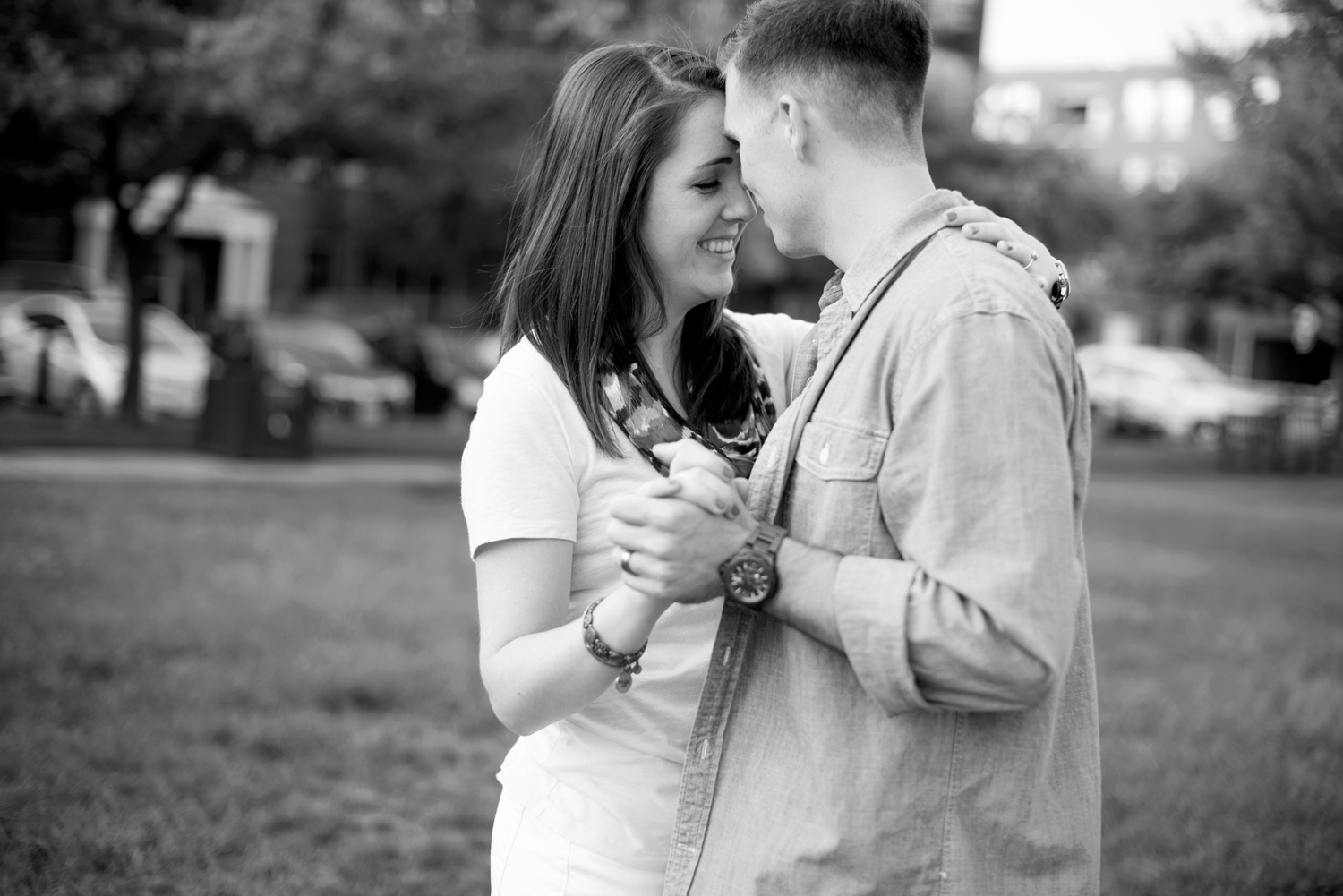Sweet, intimate, anniversary couples portraits in  Port Warwick, Newport News, Virginia (black and white)