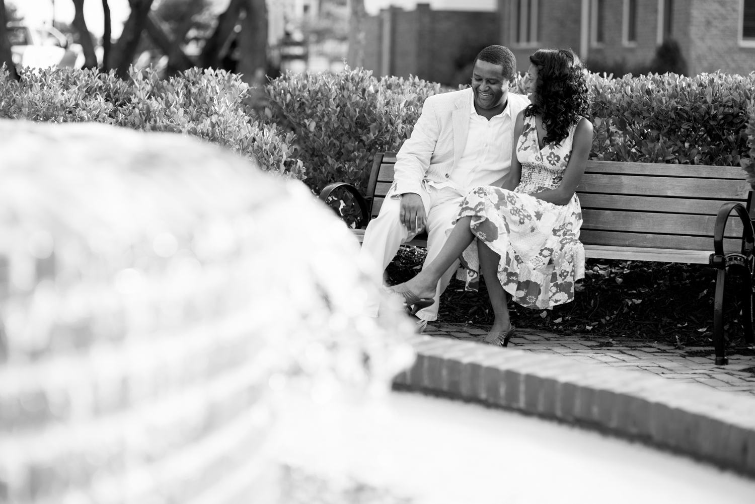 Fountain sunrise engagement picture (black and white)