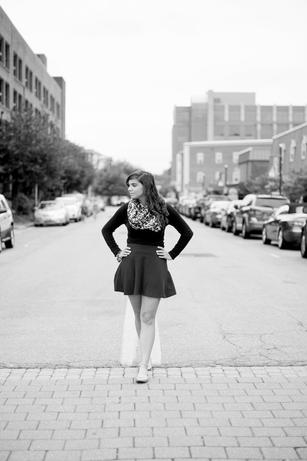 Downtown urban senior portraits | cranberry red skirt and leapord print scarf | Hampton, Virginia (black and white)