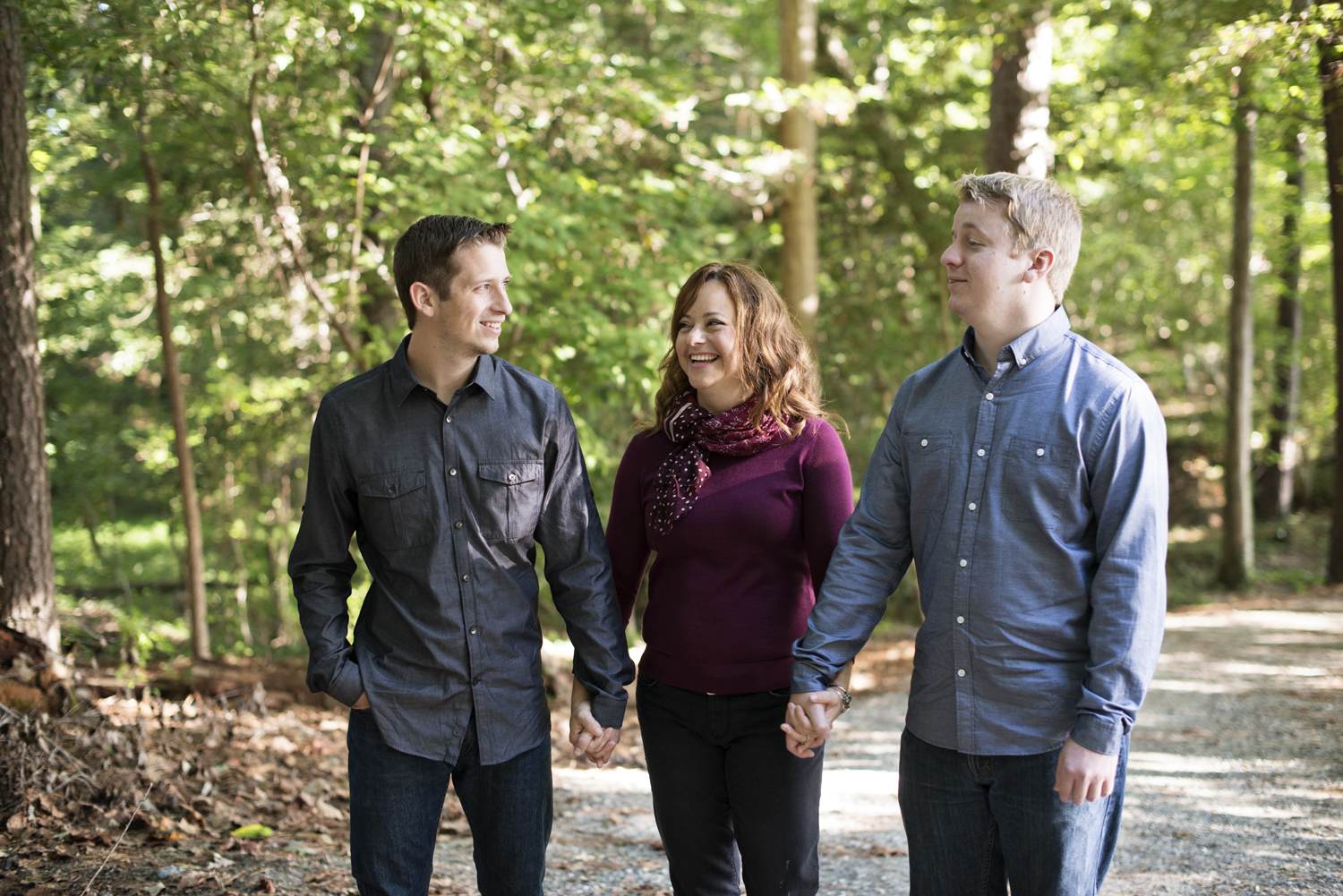Windsor Castle Park fall family portraits in Smithfield, Virginia; a mother and her sons