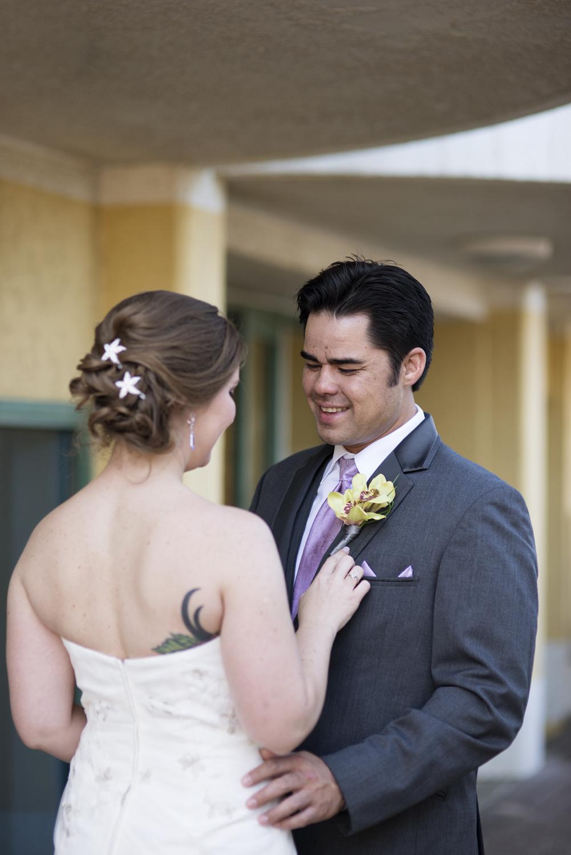 Bride & groom first look   Fall hotel wedding in Virginia Beach