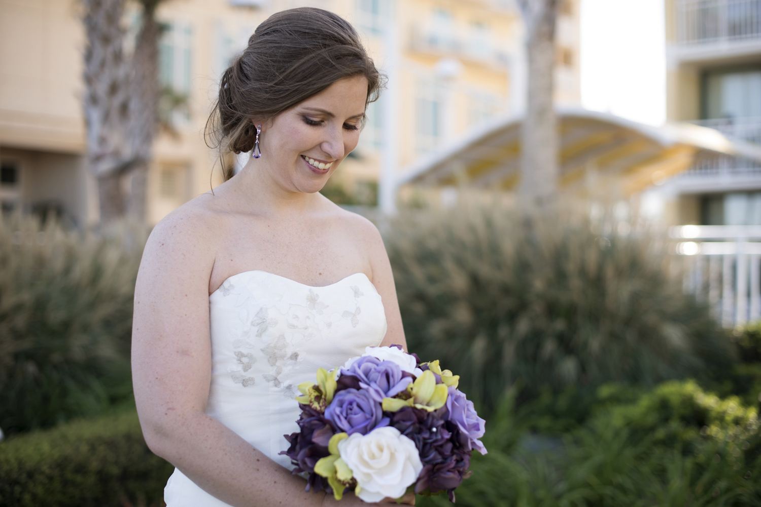Bridal portrait with purple and white bouquet  | Fall hotel wedding in Virginia Beach