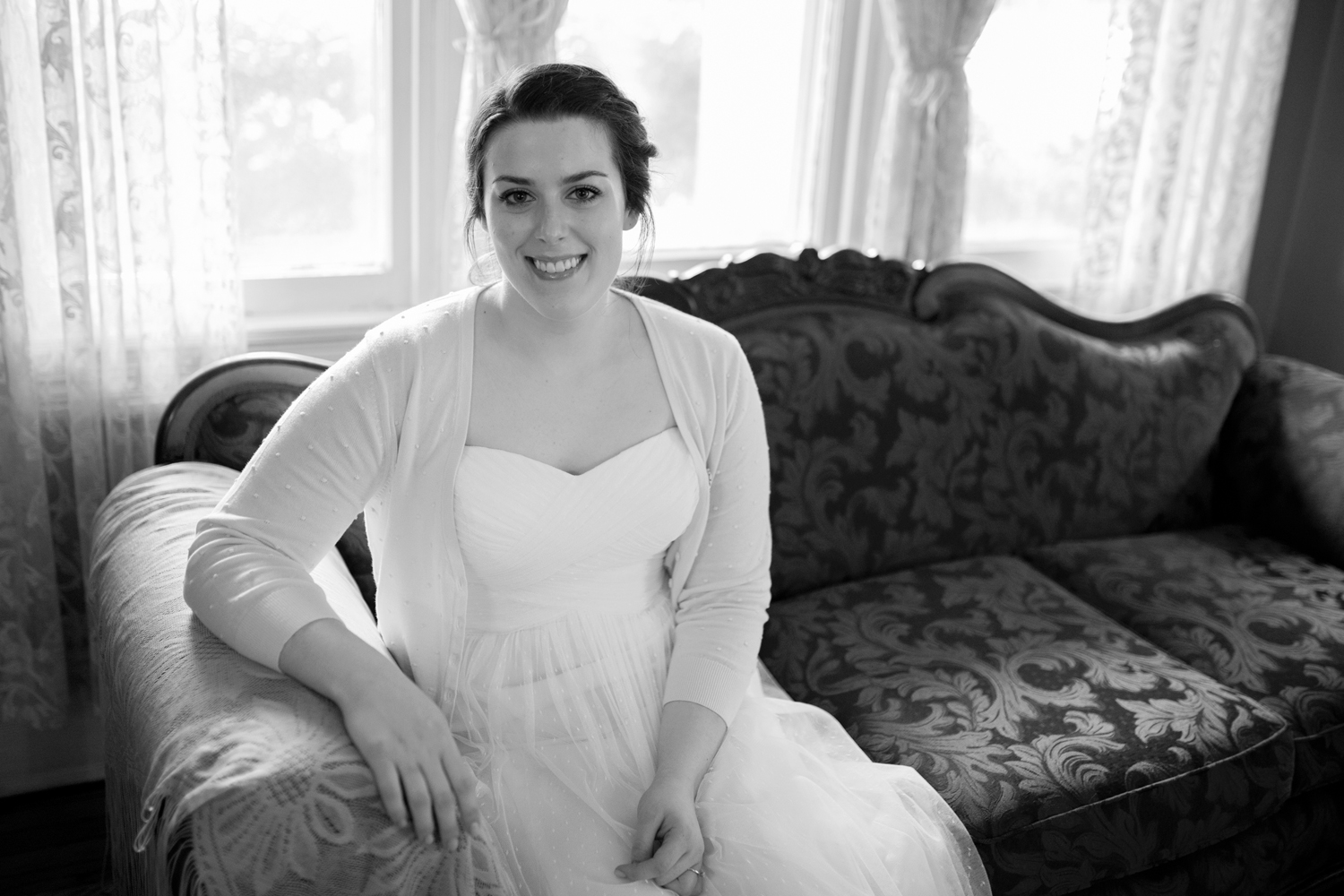 A bride before her wedding at the Magnolia House Inn in Hampton, Virginia (black and white)