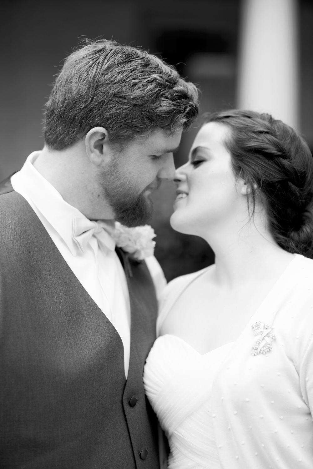Intimate black and white bride and groom portrait
