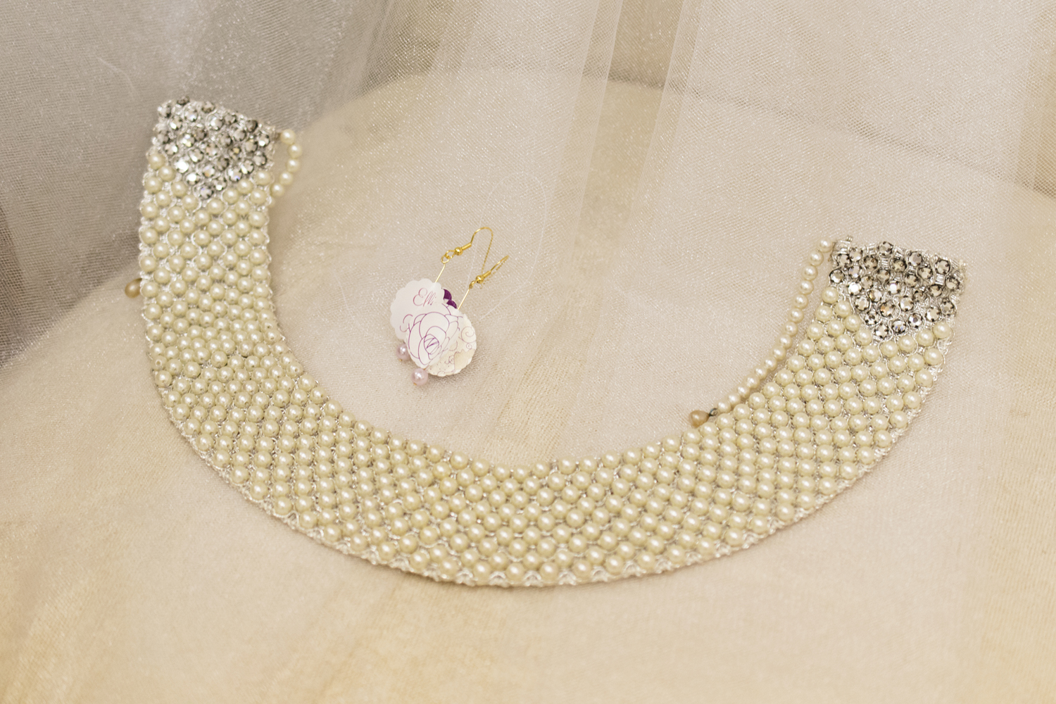 Necklace and handmade earring wedding details