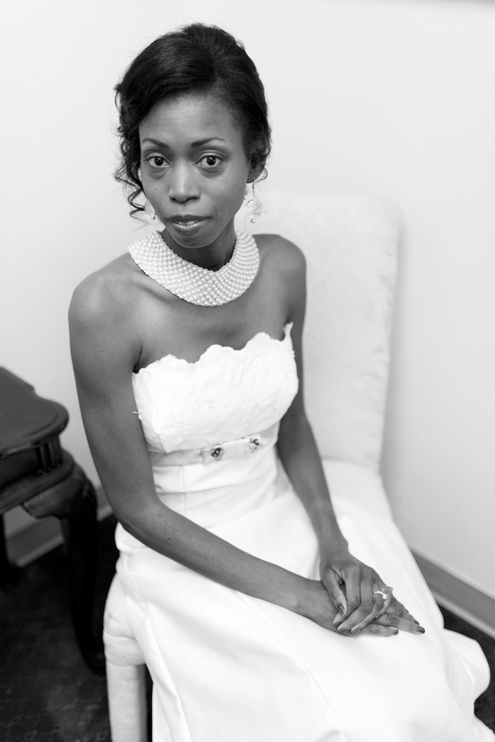 Black and white bridal portrait in the getting ready room