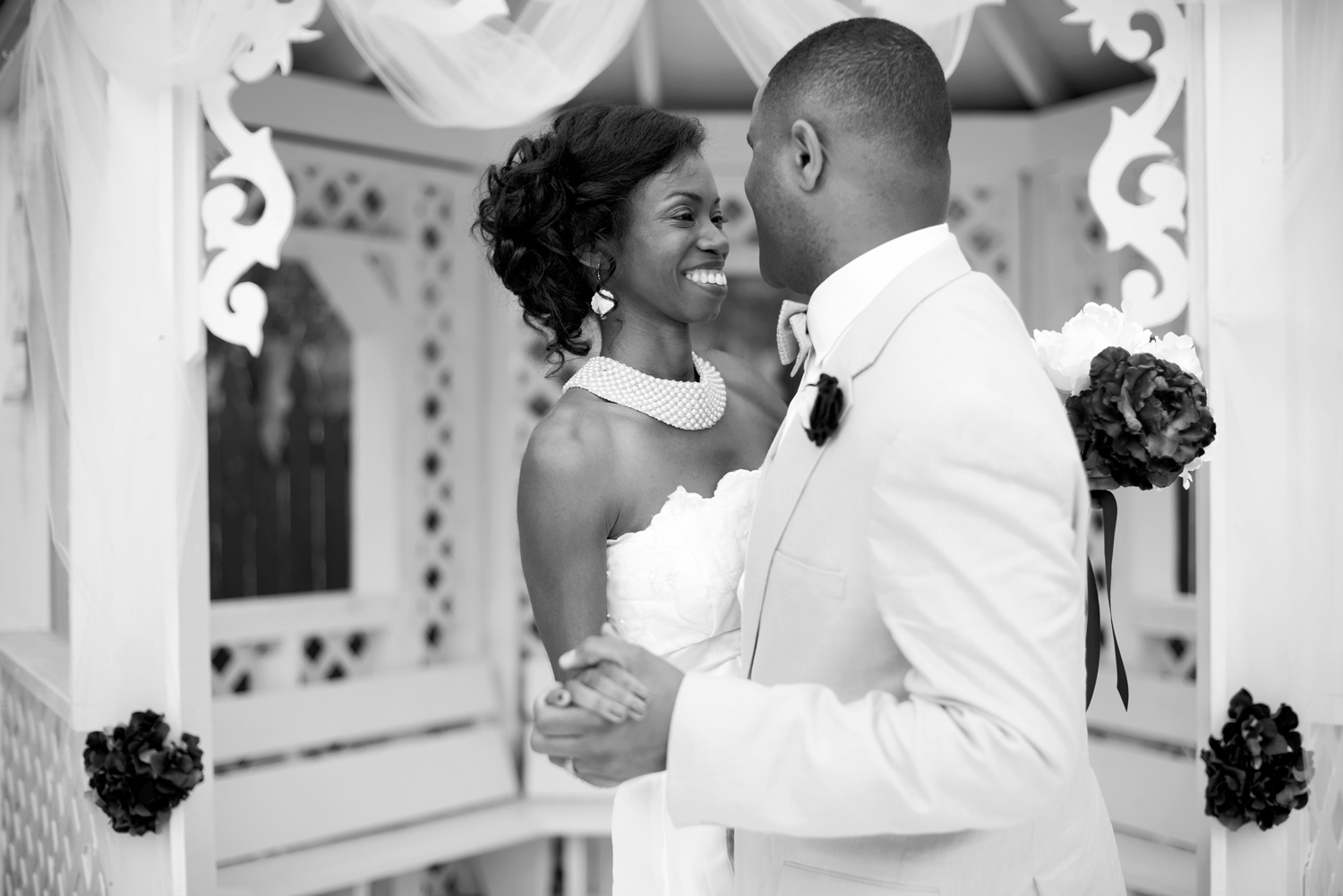 Bride and groom share a sweet moment after their wedding
