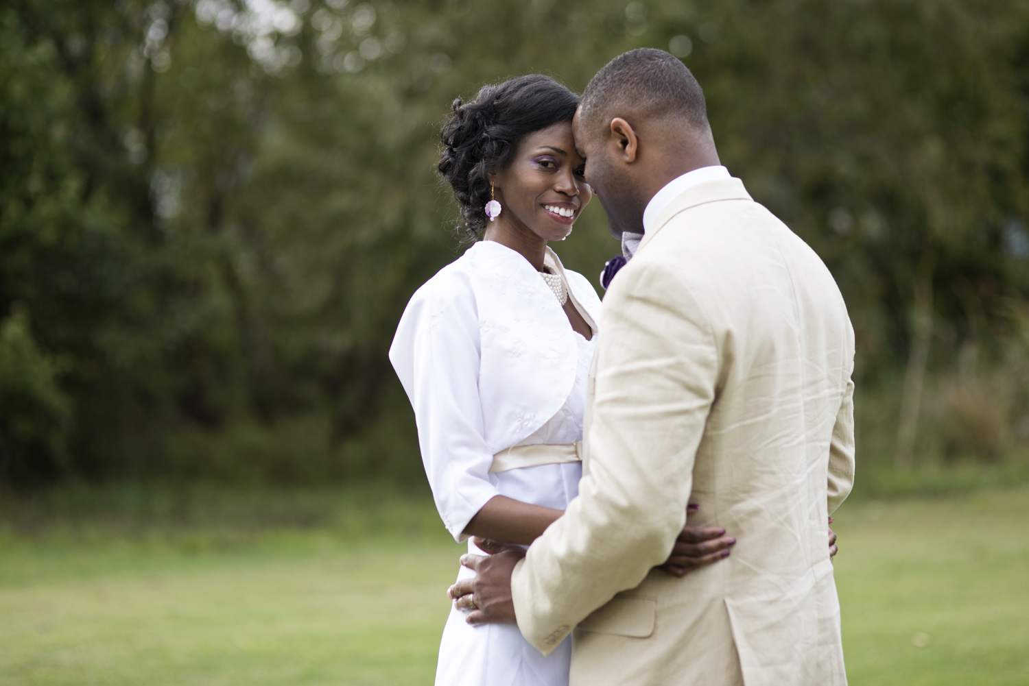 Bride and groom portraits at their October wedding in Chesapeake, Virginia