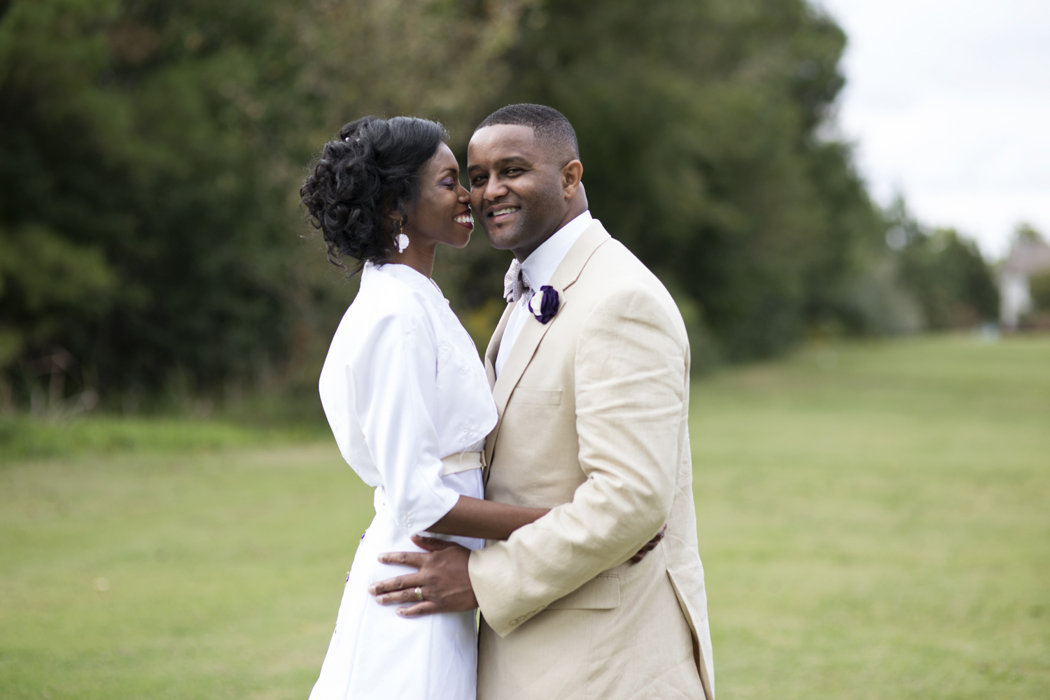 Bride and groom sharing a moment at their October wedding in Chesapeake, Virginia