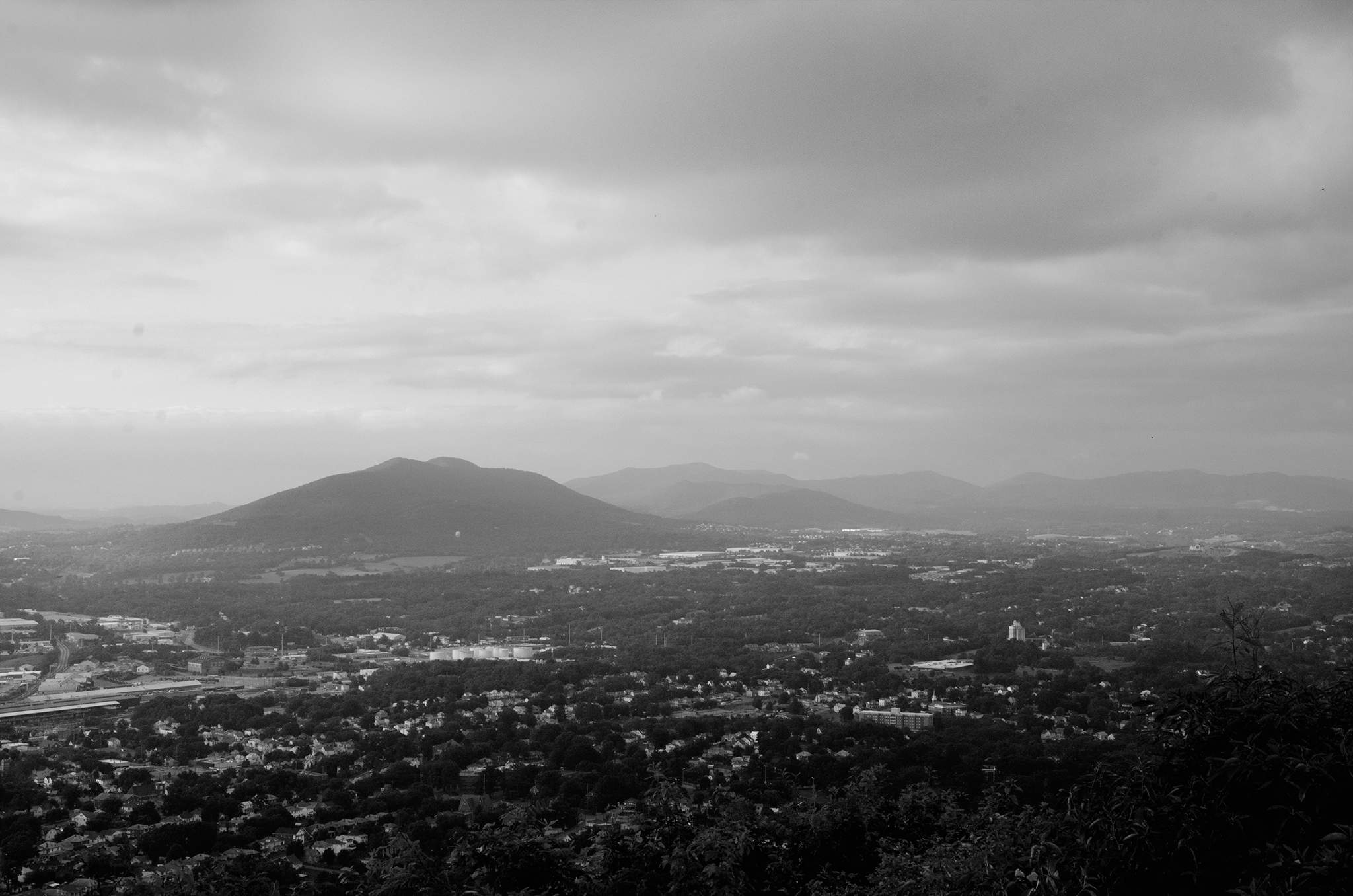Black and white landscape of the Roanoke Valley