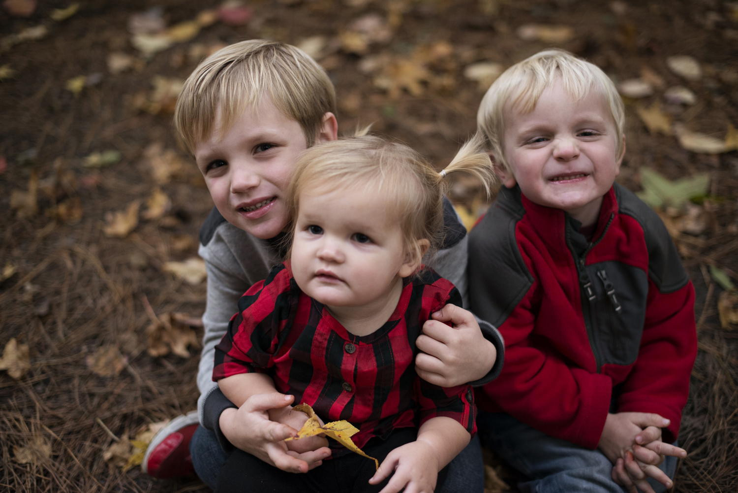 Three kids in fall leaves for Christmas card pictures
