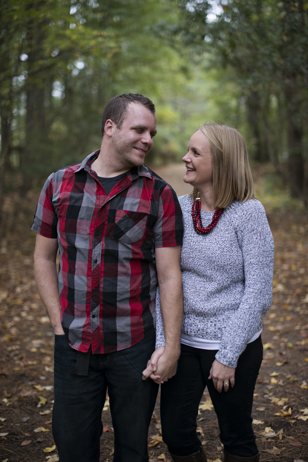 Gray, red, and black plaid Christmas card picture