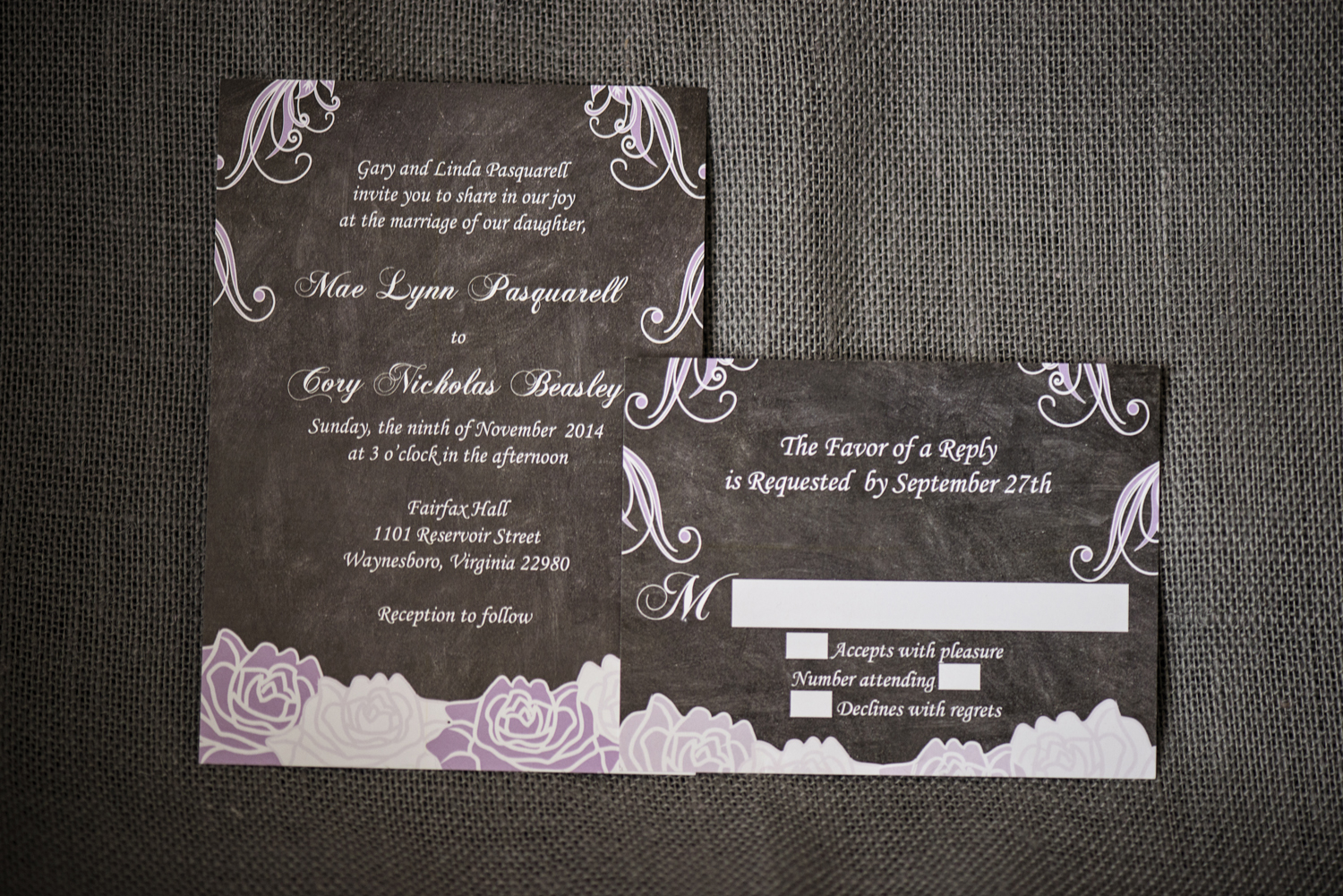 Chalkboard, purple, and white invitations from Etsy