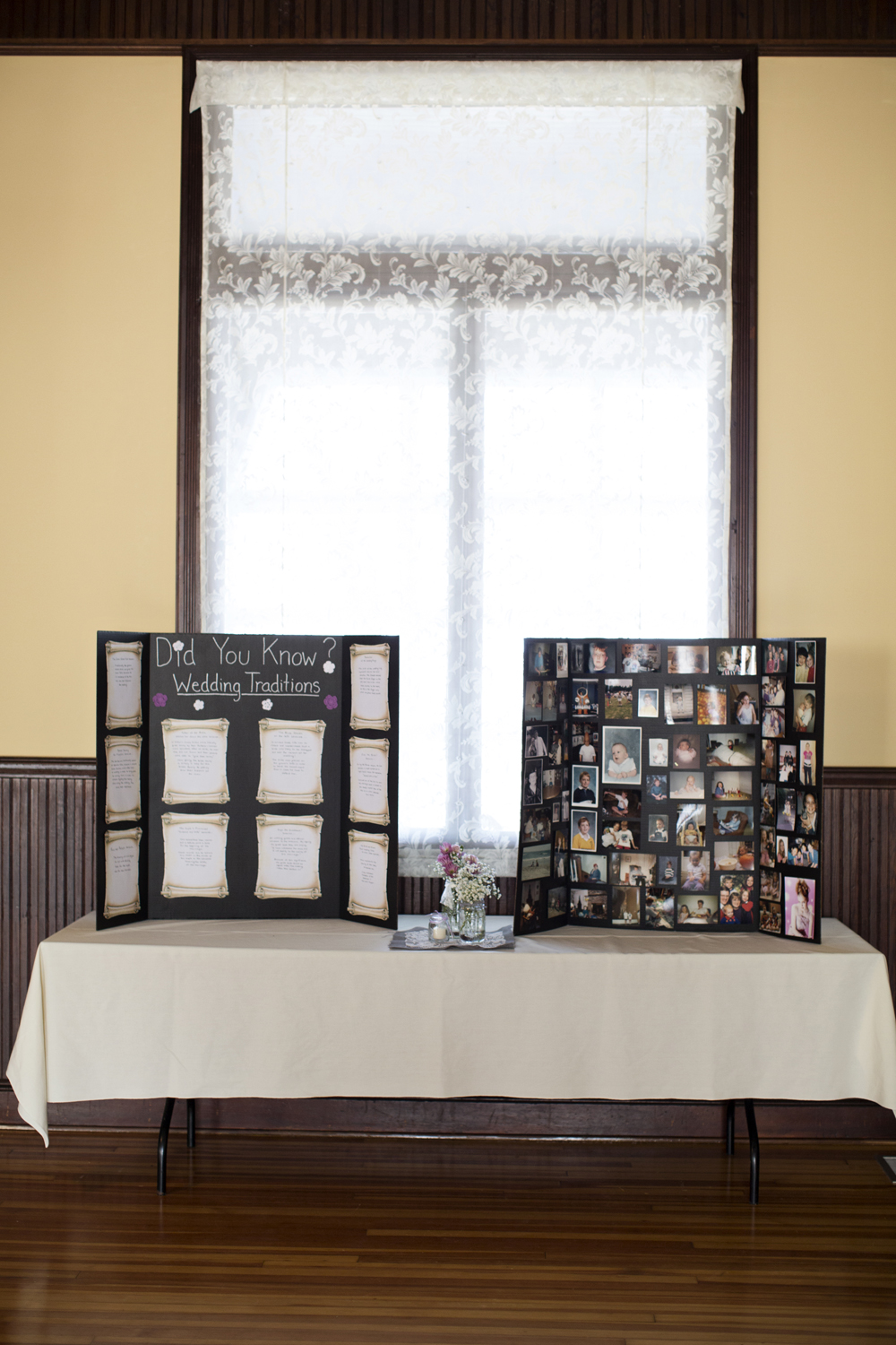 Personal details and pictures at an indoor wedding