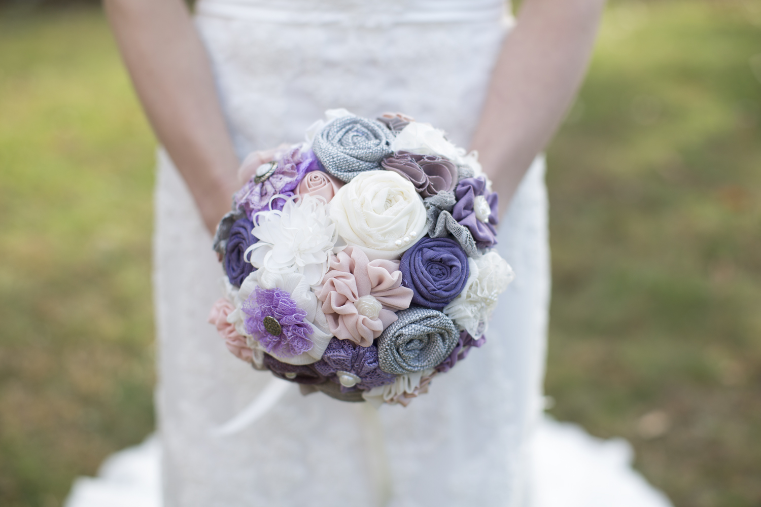 Bride's handmade lavender, pink, gray, and white burlap cloth bouquet