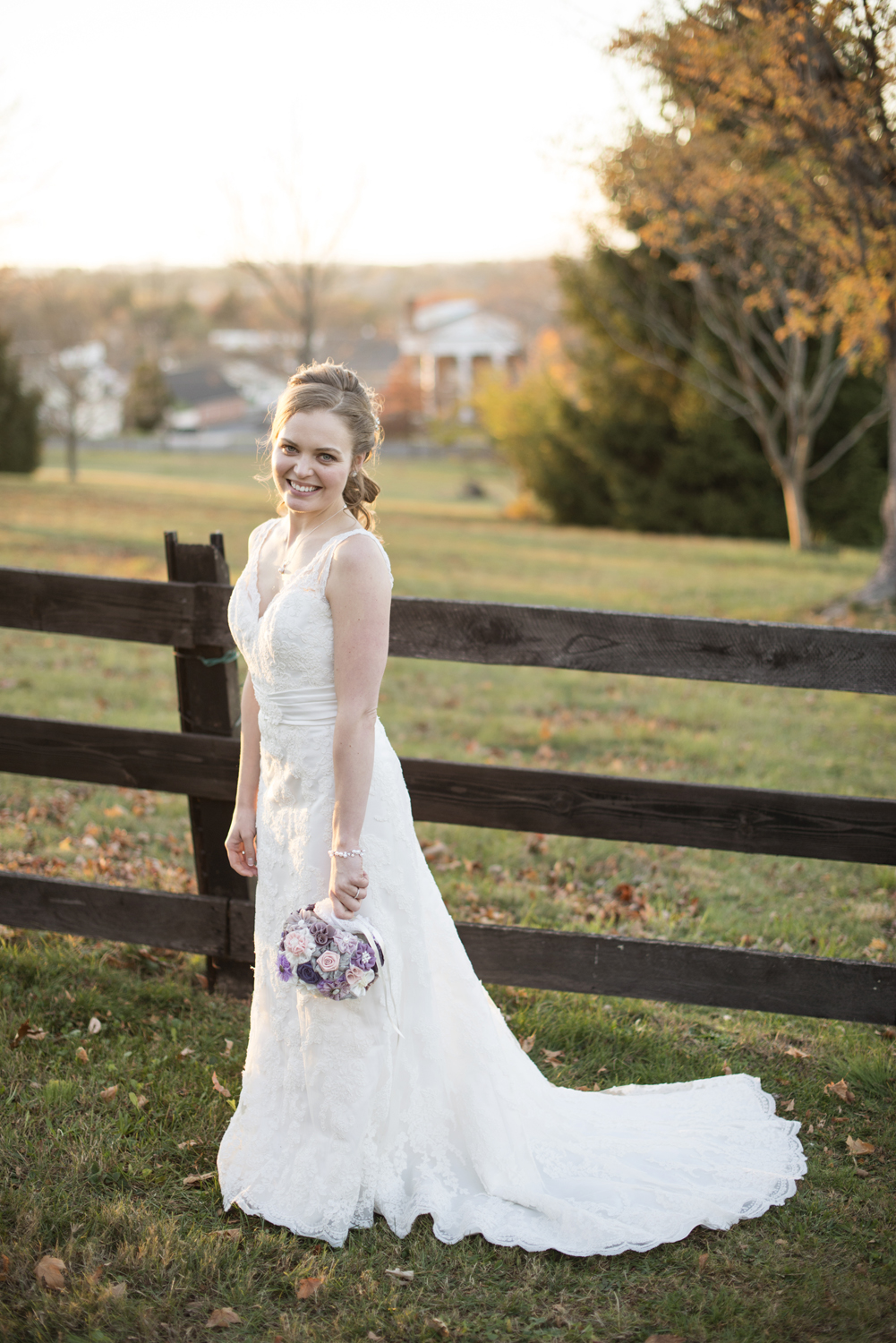 Bridal portraits in all lace wedding dress