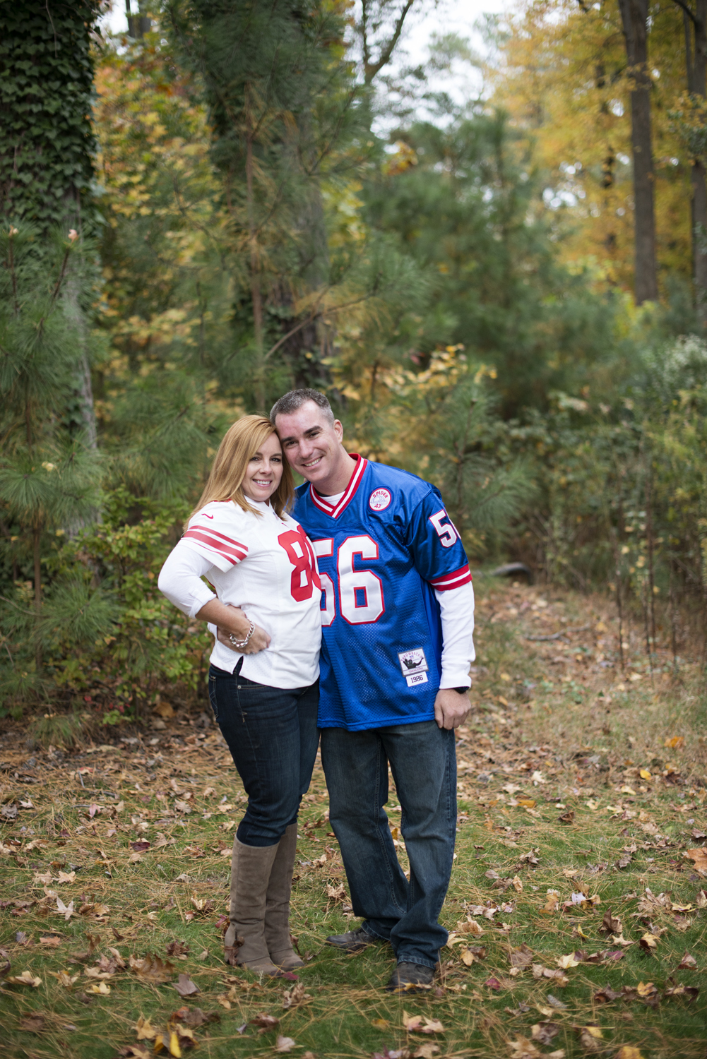 Fall engagement pictures with New York Giants football jerseys