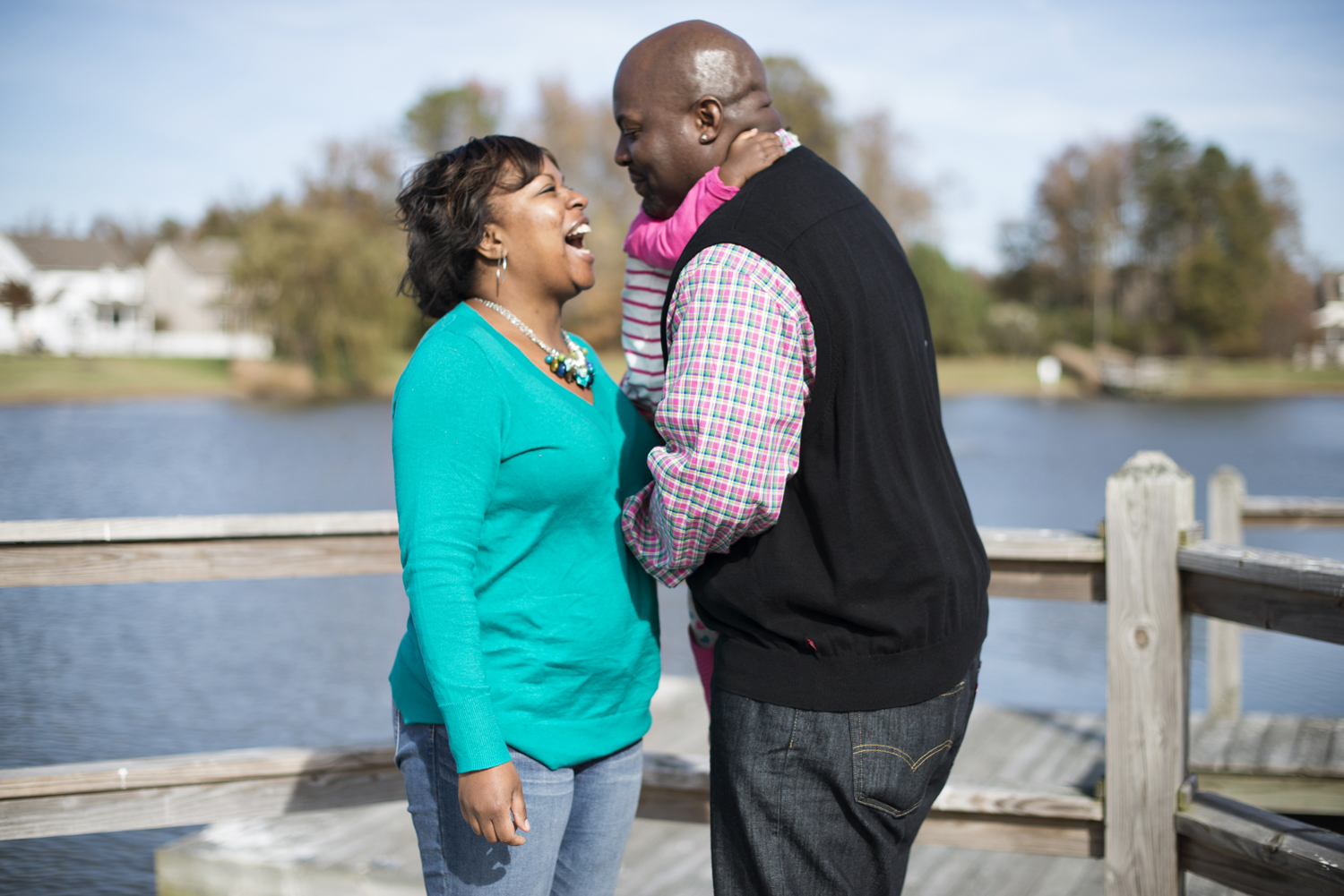 Fall family portraits on a dock in Virginia