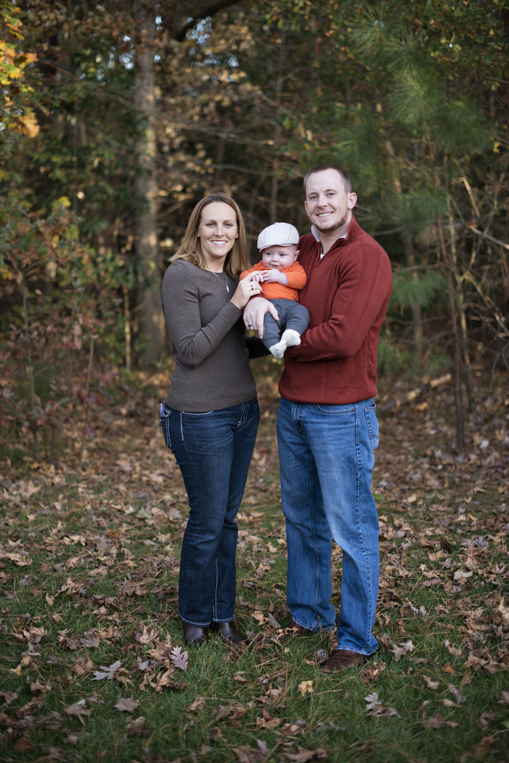 Fall family pictures for three in Carrollton, Virginia