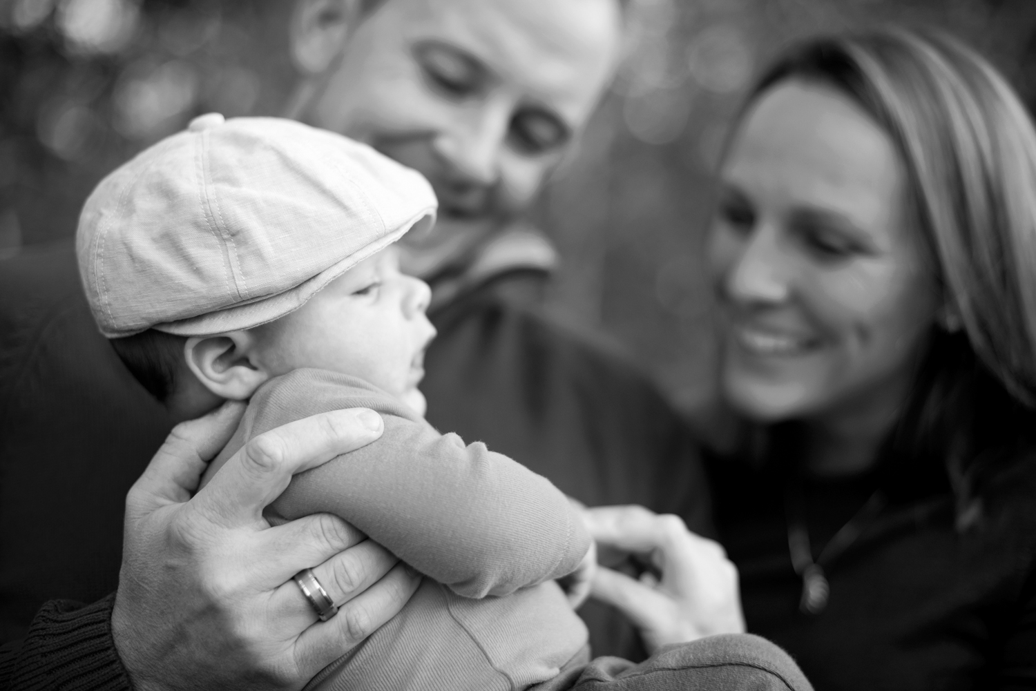 Sweet black and white picture for family of three