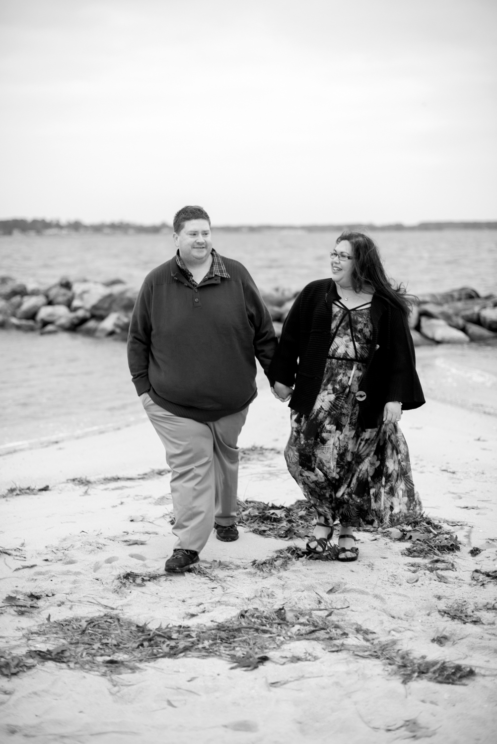 Black and white sunrise engagement session