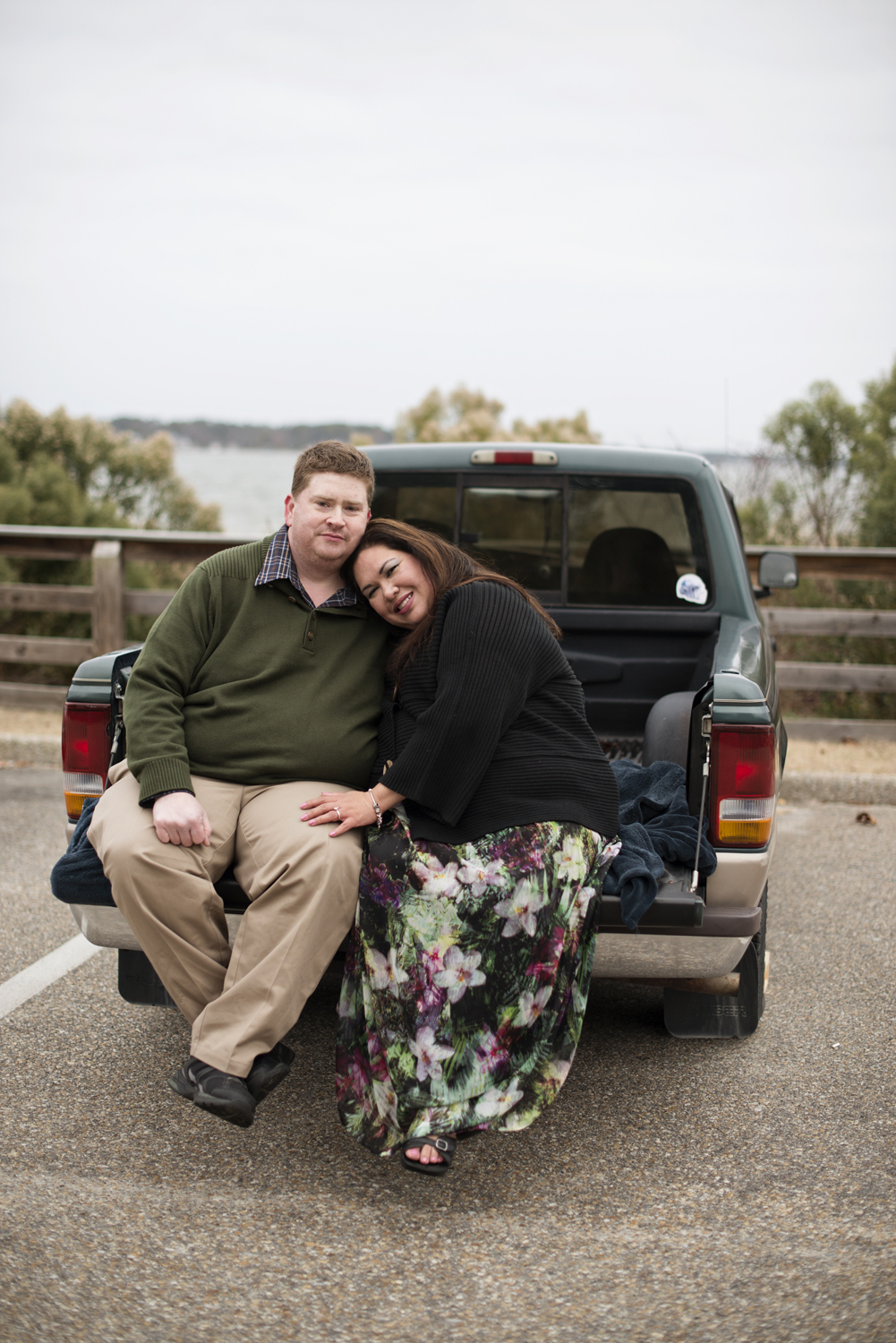Engagement poses in a truck