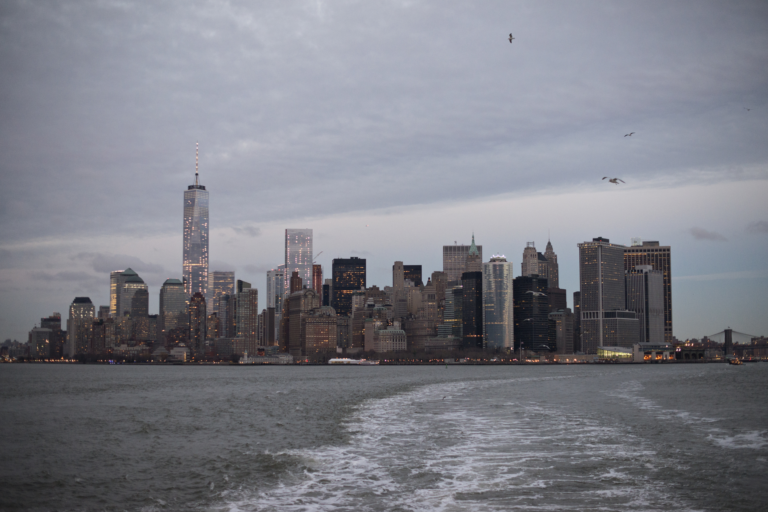 The New York skyline from the Staten Island Ferry