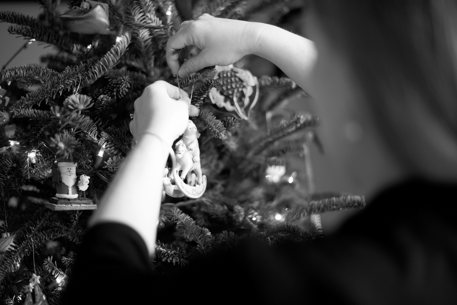 Hanging baby's first ornament on the tree (black and white)