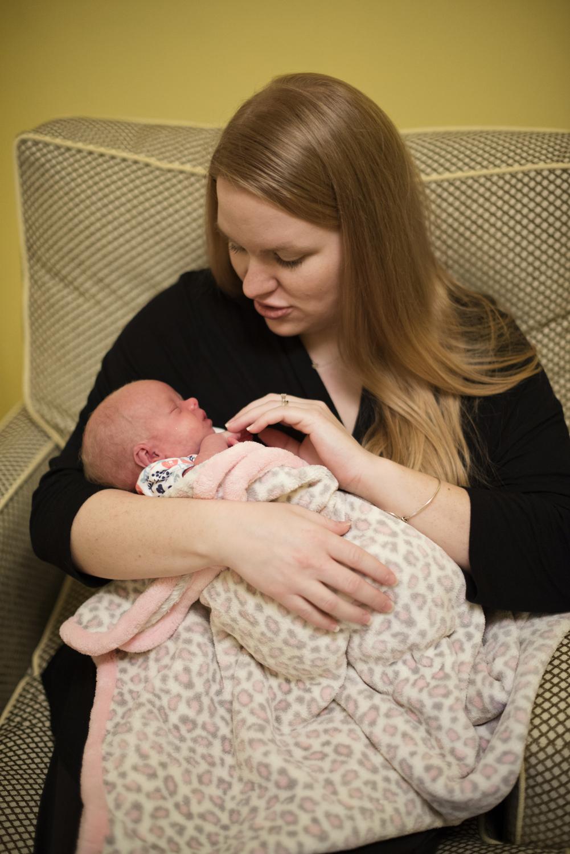 New mom with her newborn baby