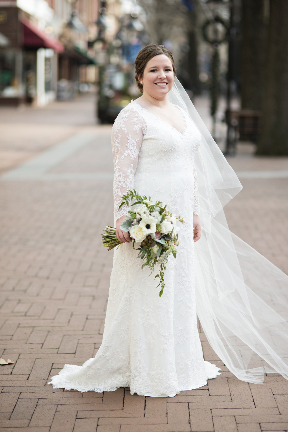 Bridal portraits at an outdoor downtown mall