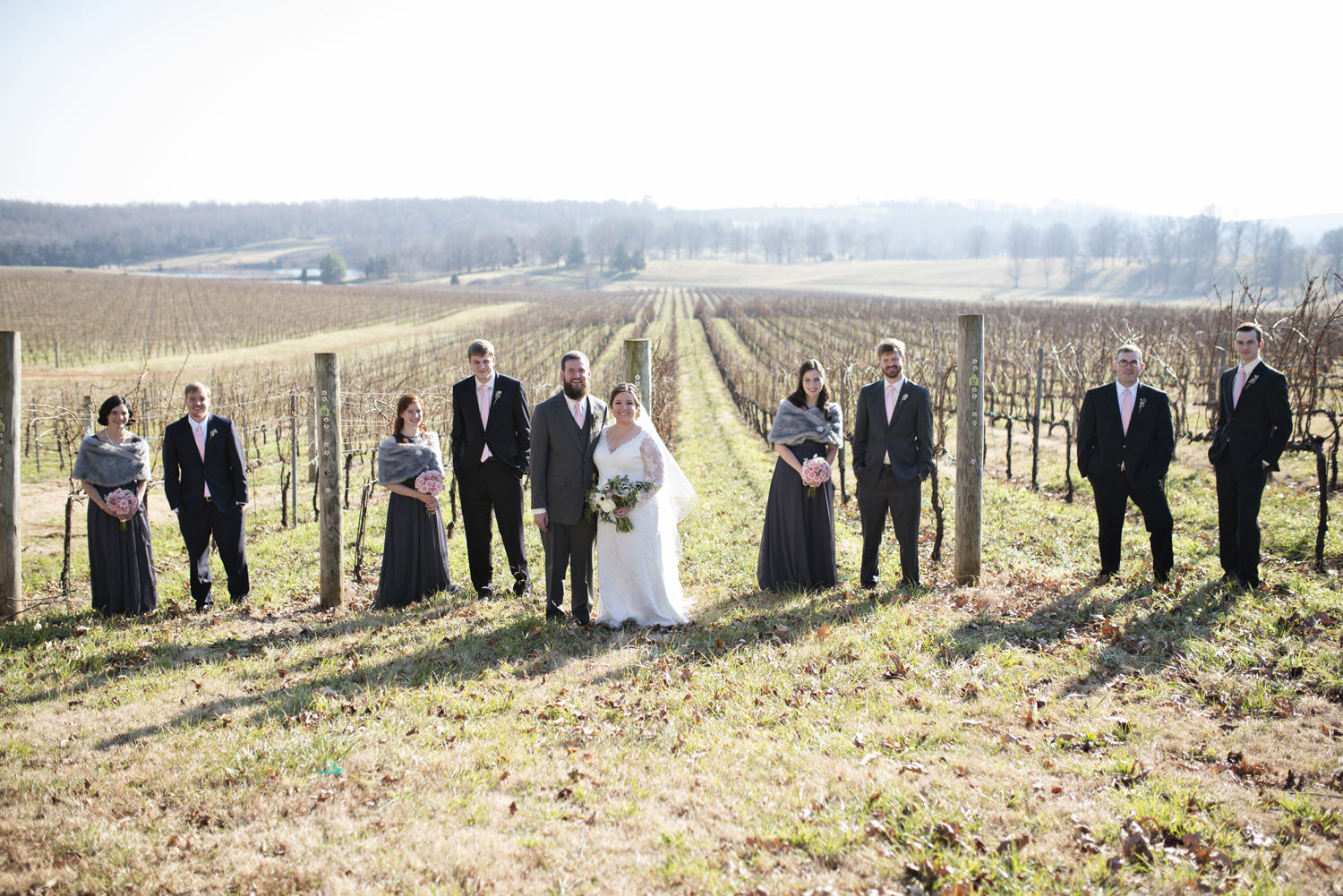 Bridal party portraits at a wine vineyard in Virginia