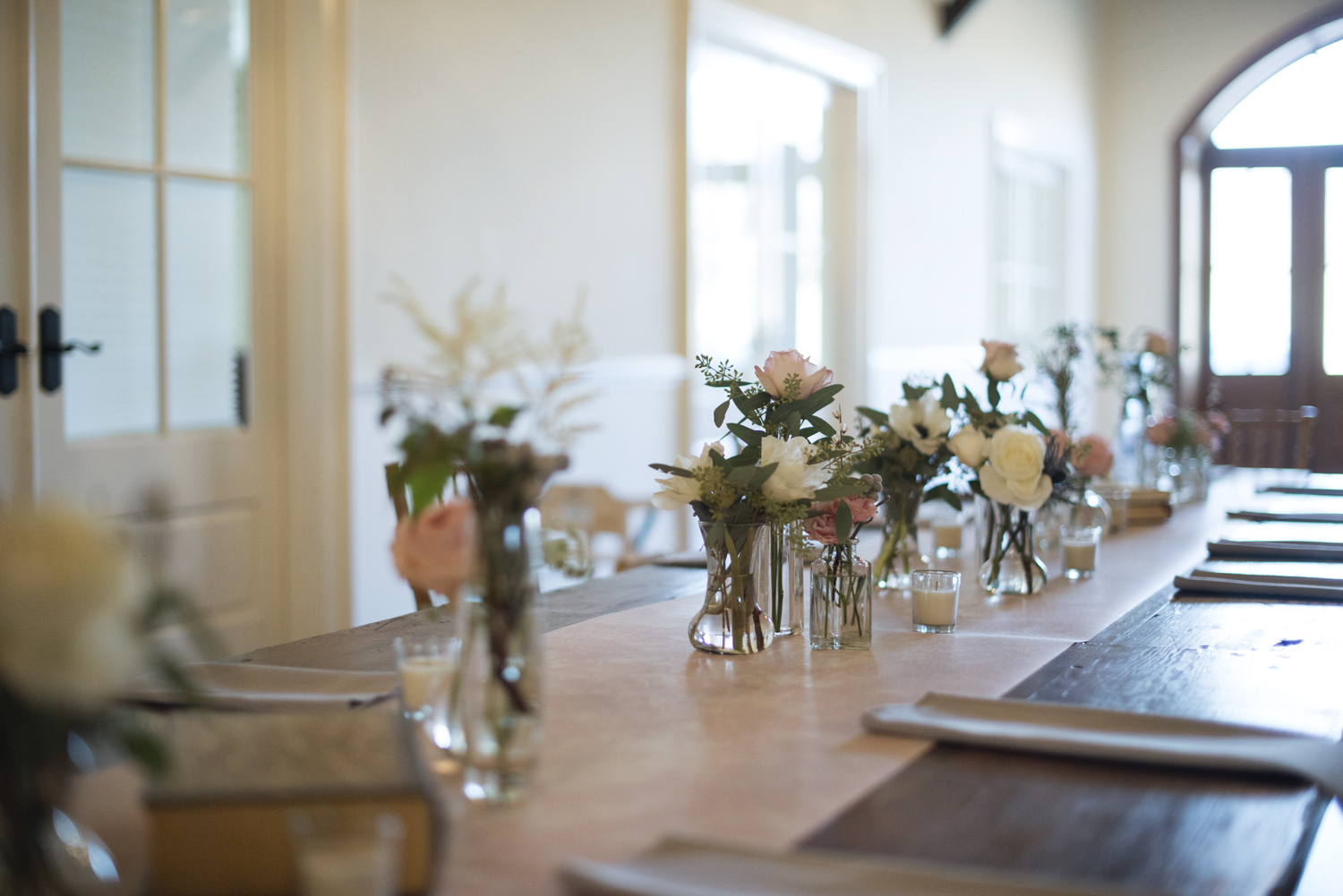 Jane Austen themed wedding with floral centerpieces