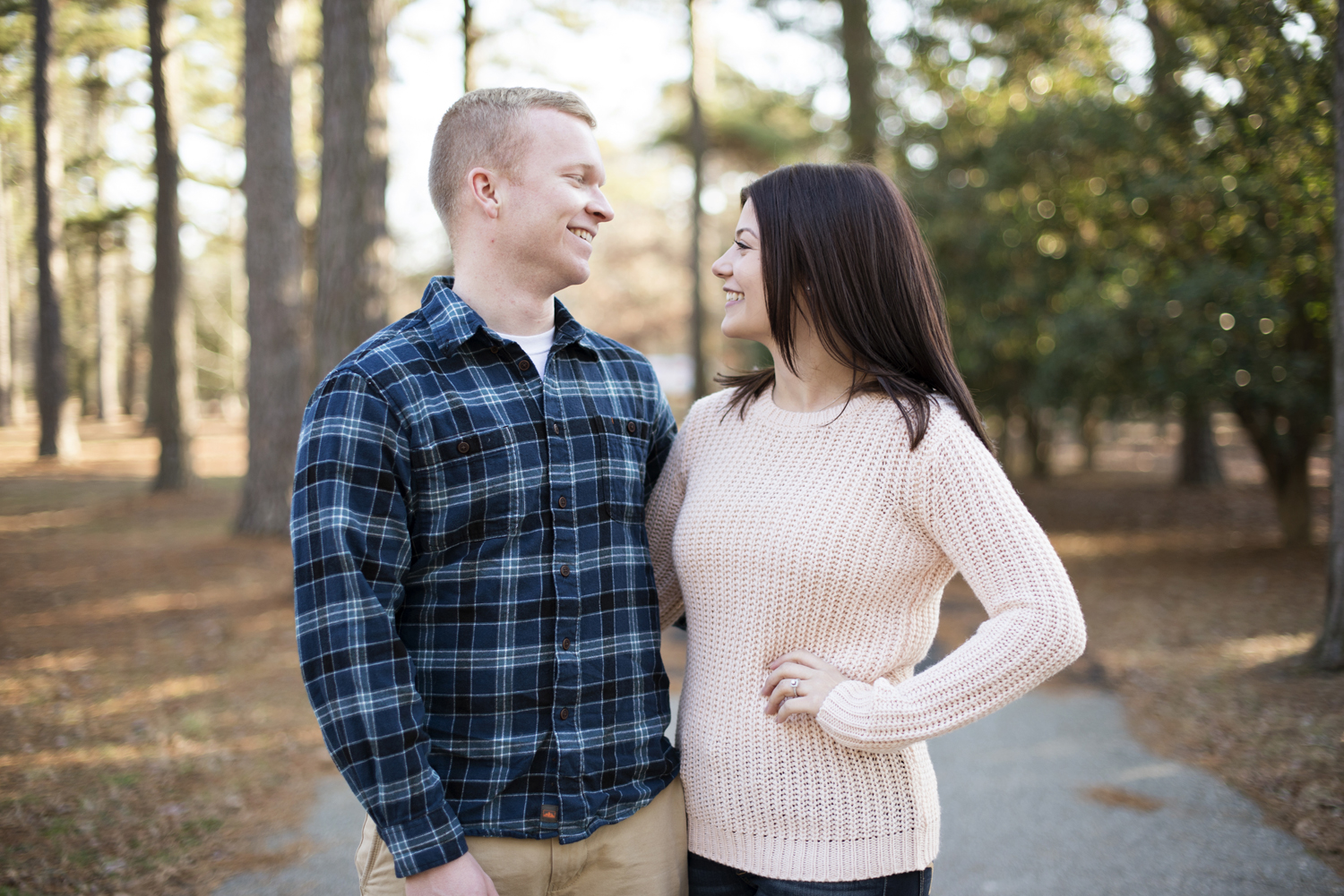 A winter engagement session for a long distance couple