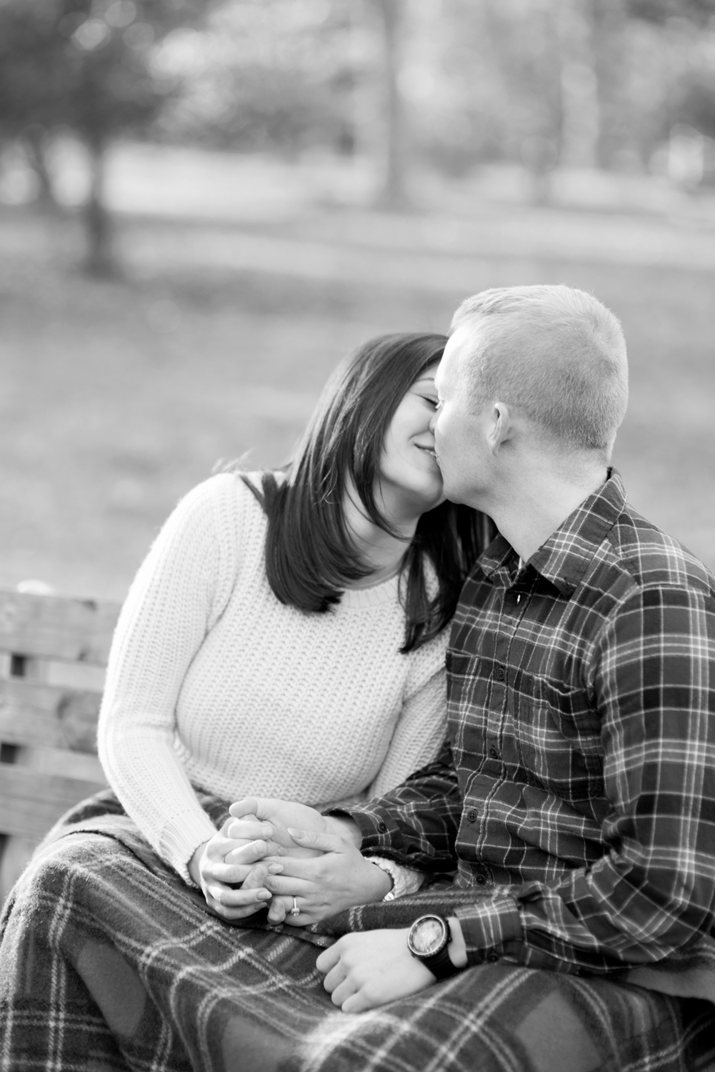Romantic woods engagement pictures (black and white)