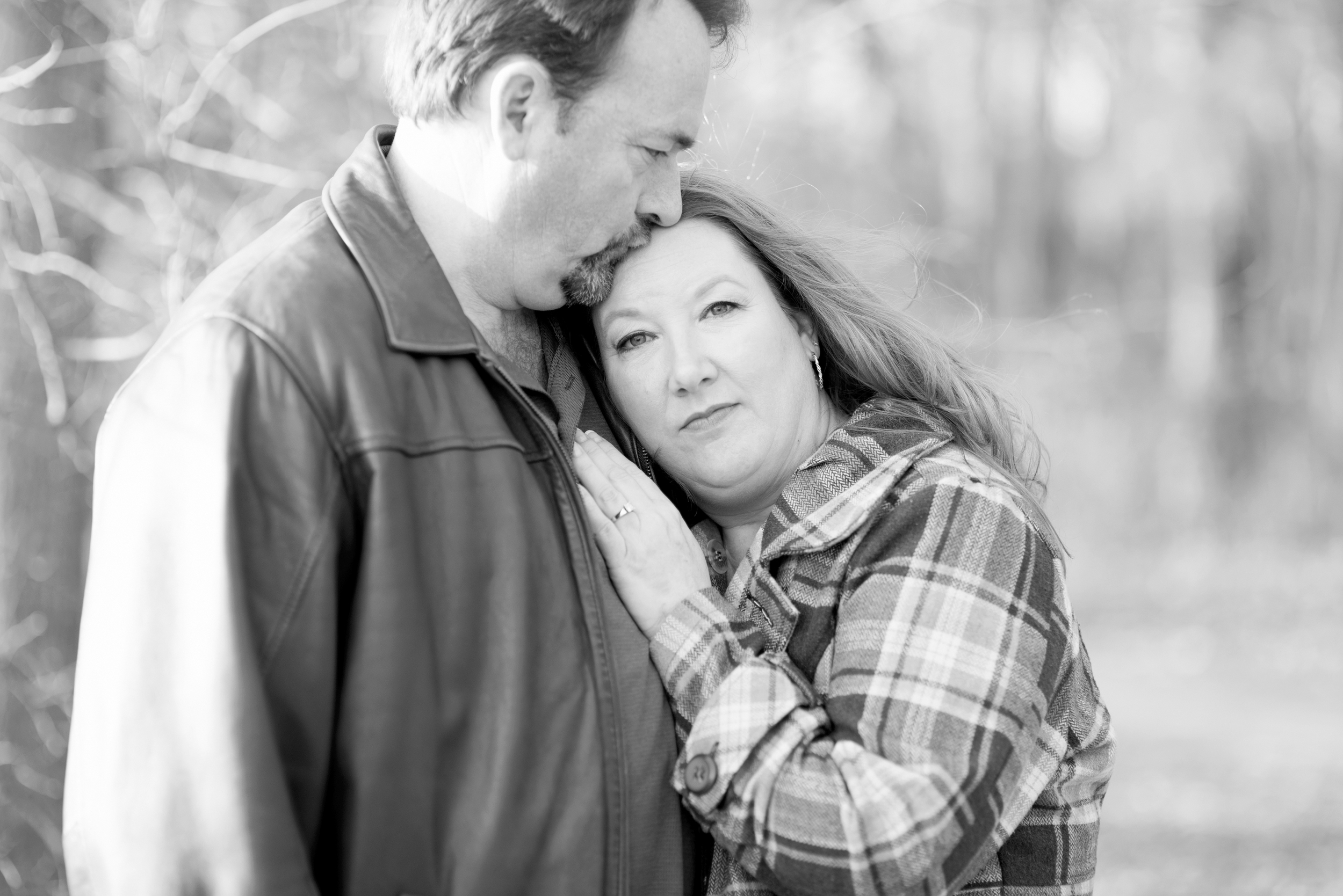 Romantic, intimate engagement session (black and white)
