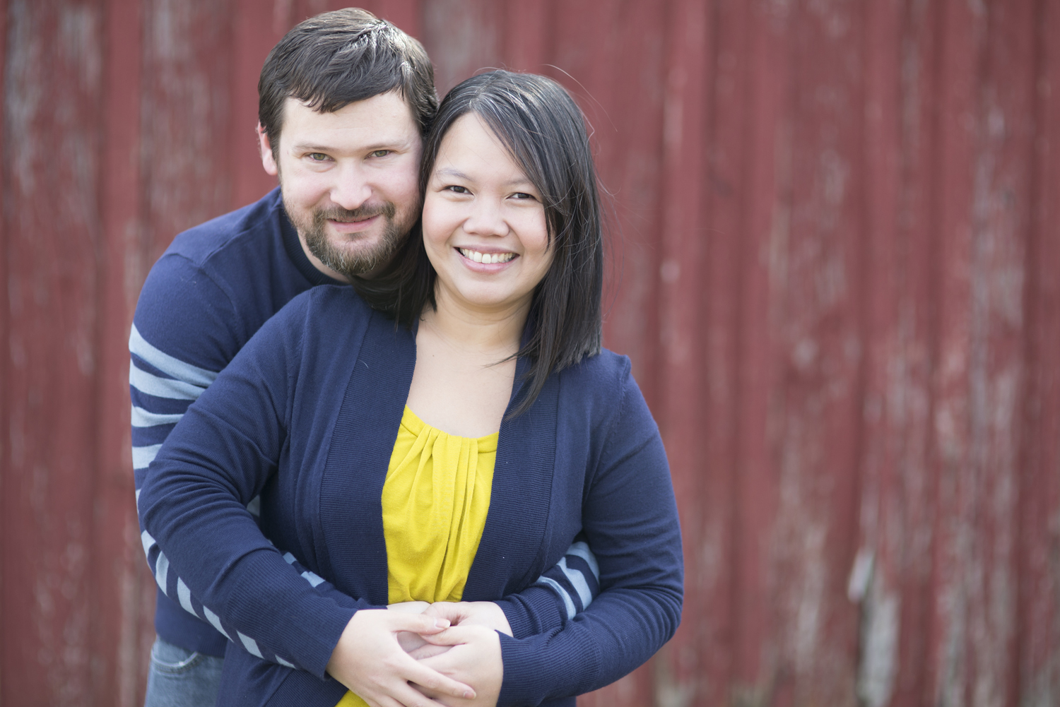 Mustard yellow and blue outfits for anniversary portrait session