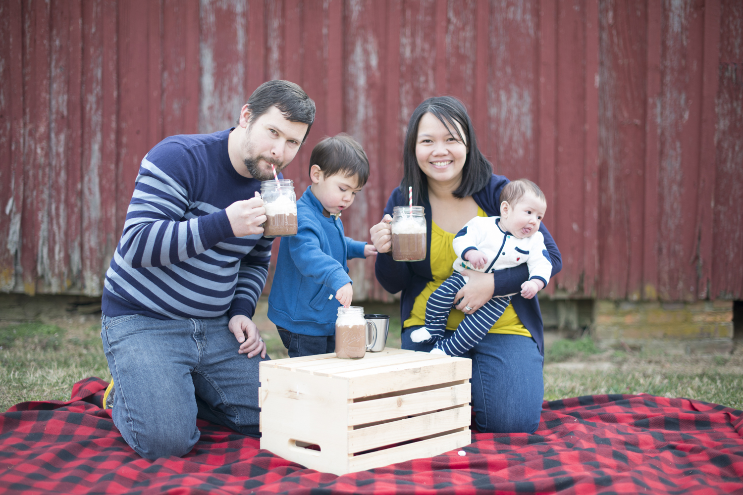 Cute family picture idea with hot chocolate mugs