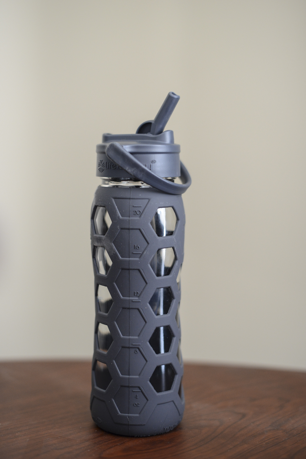 Gray Lifefactory Glass Water Bottle
