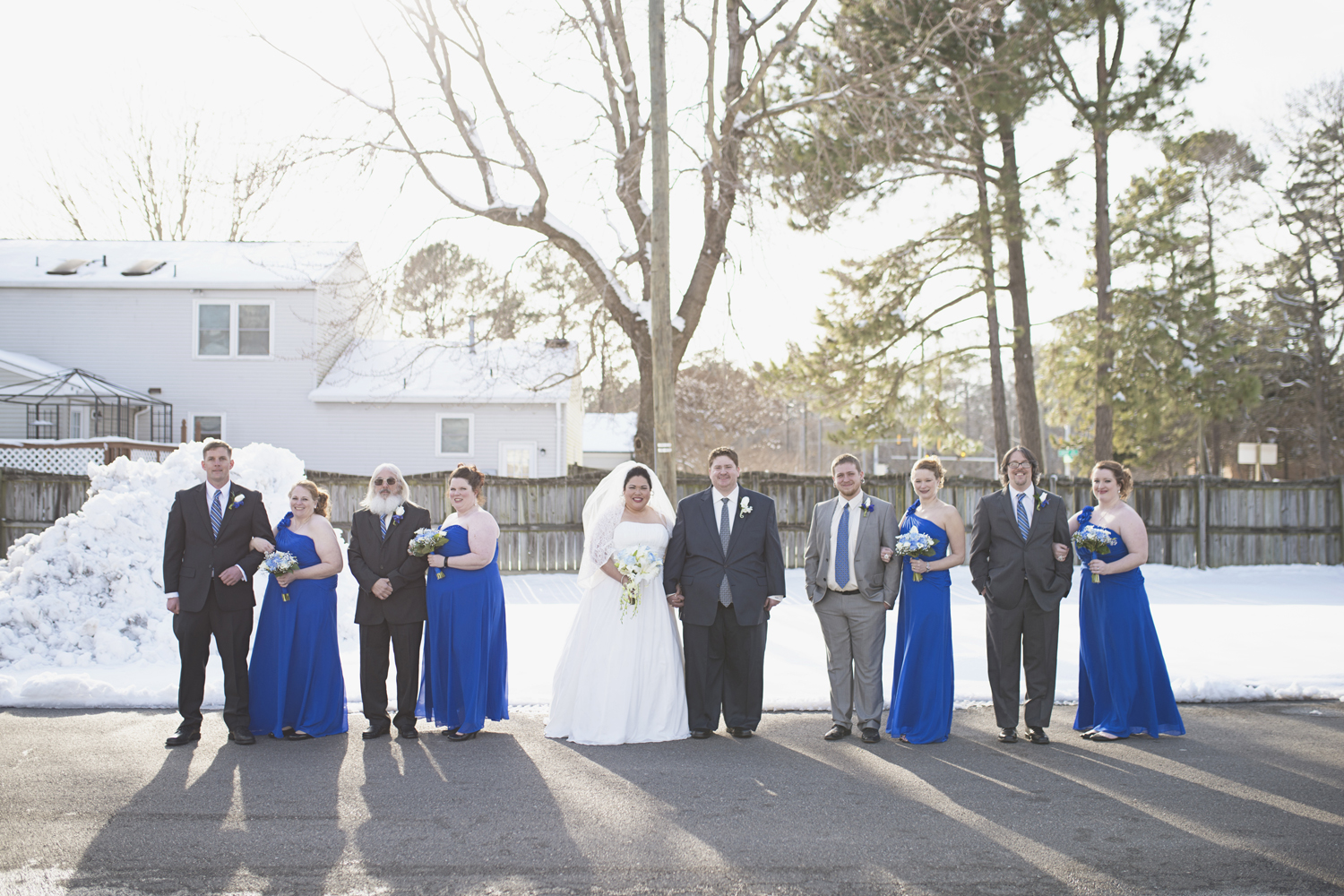 Editorial bridal party portraits | Winter wedding with snow