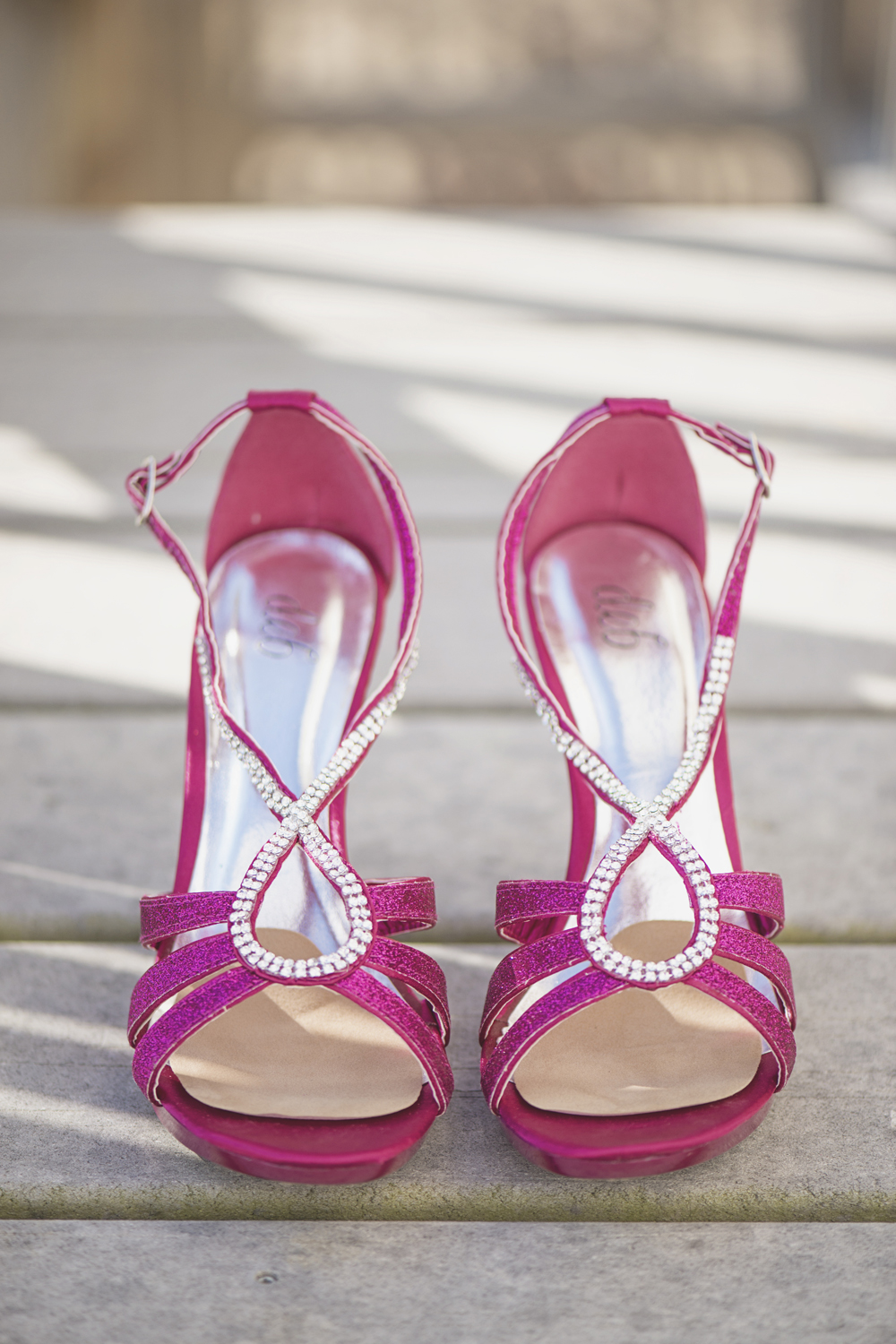 Sparkly pink and silver wedding shoes