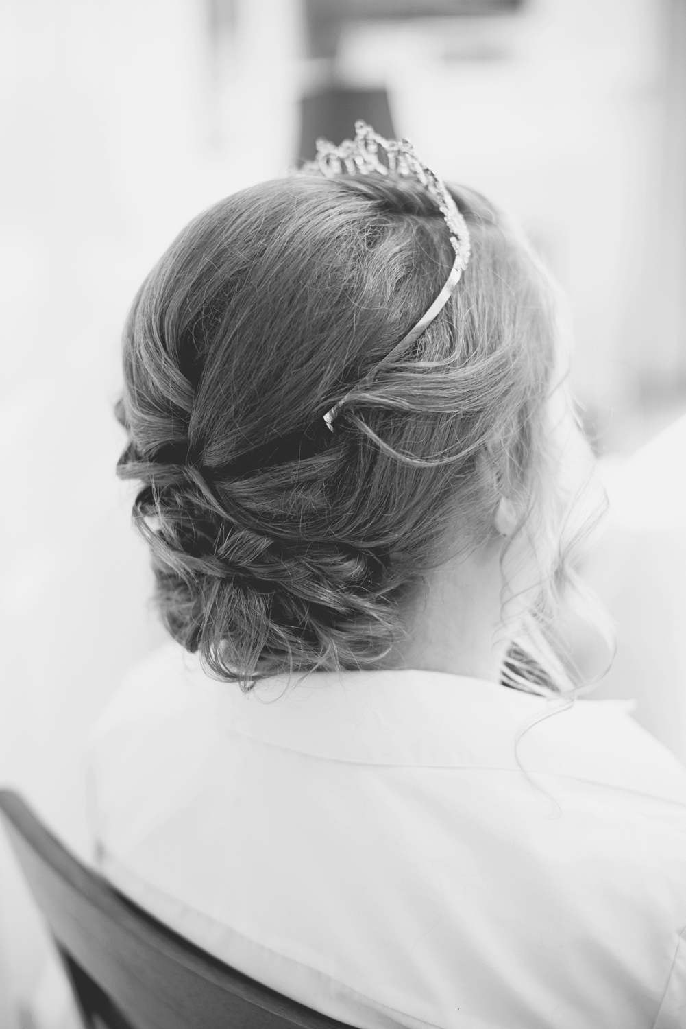 Wedding hair updo with a tiara | Black and white