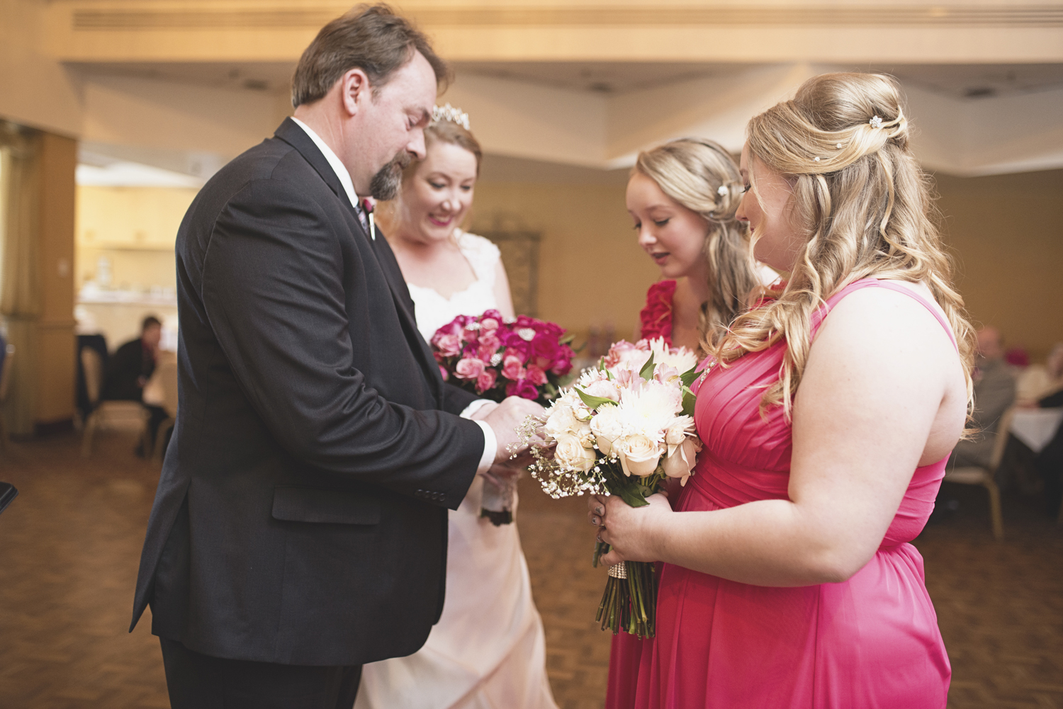 Ring ceremony with daughters | Military wedding | Pink and white