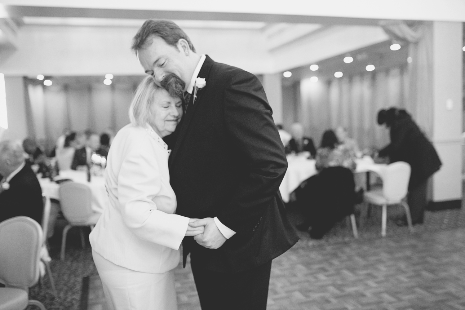 Mother and son on wedding day | Black and white