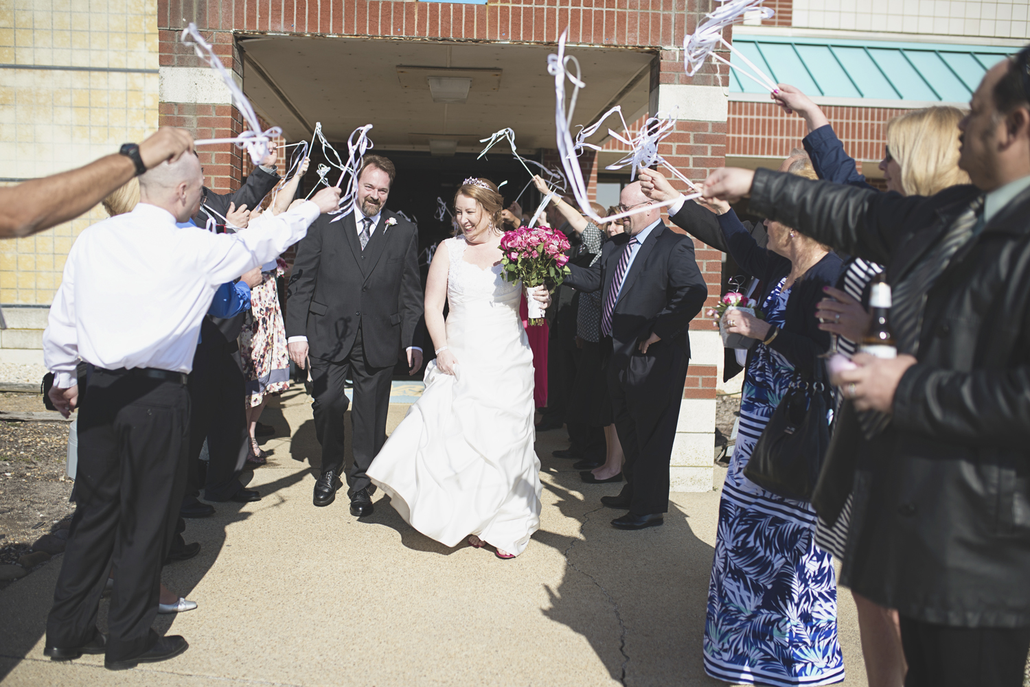 Wedding exit with ribbons on sticks | Pink and white wedding