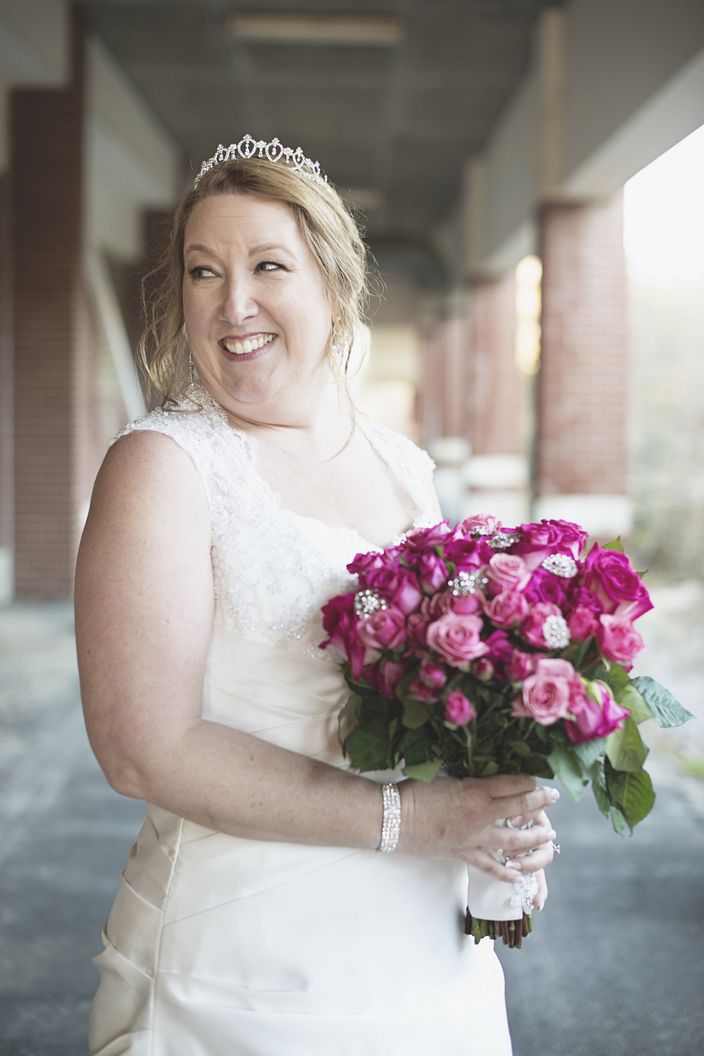 Pink and silver wedding bouquet | Bridal portraits