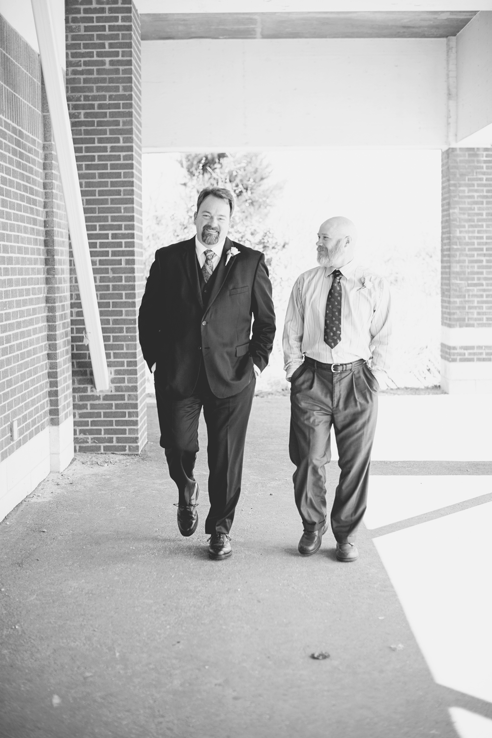 Wedding party of two | Black and white