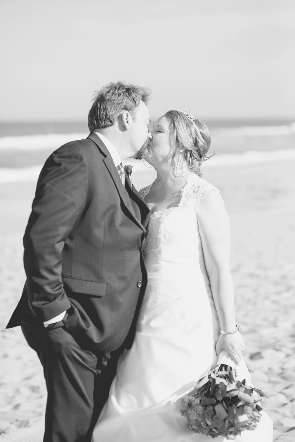 Beach bride and groom pictures | Virginia Beach wedding | Black and white